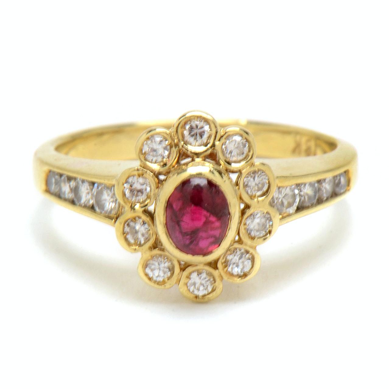 18K Yellow Gold Natural Ruby Diamond Fashion Ring