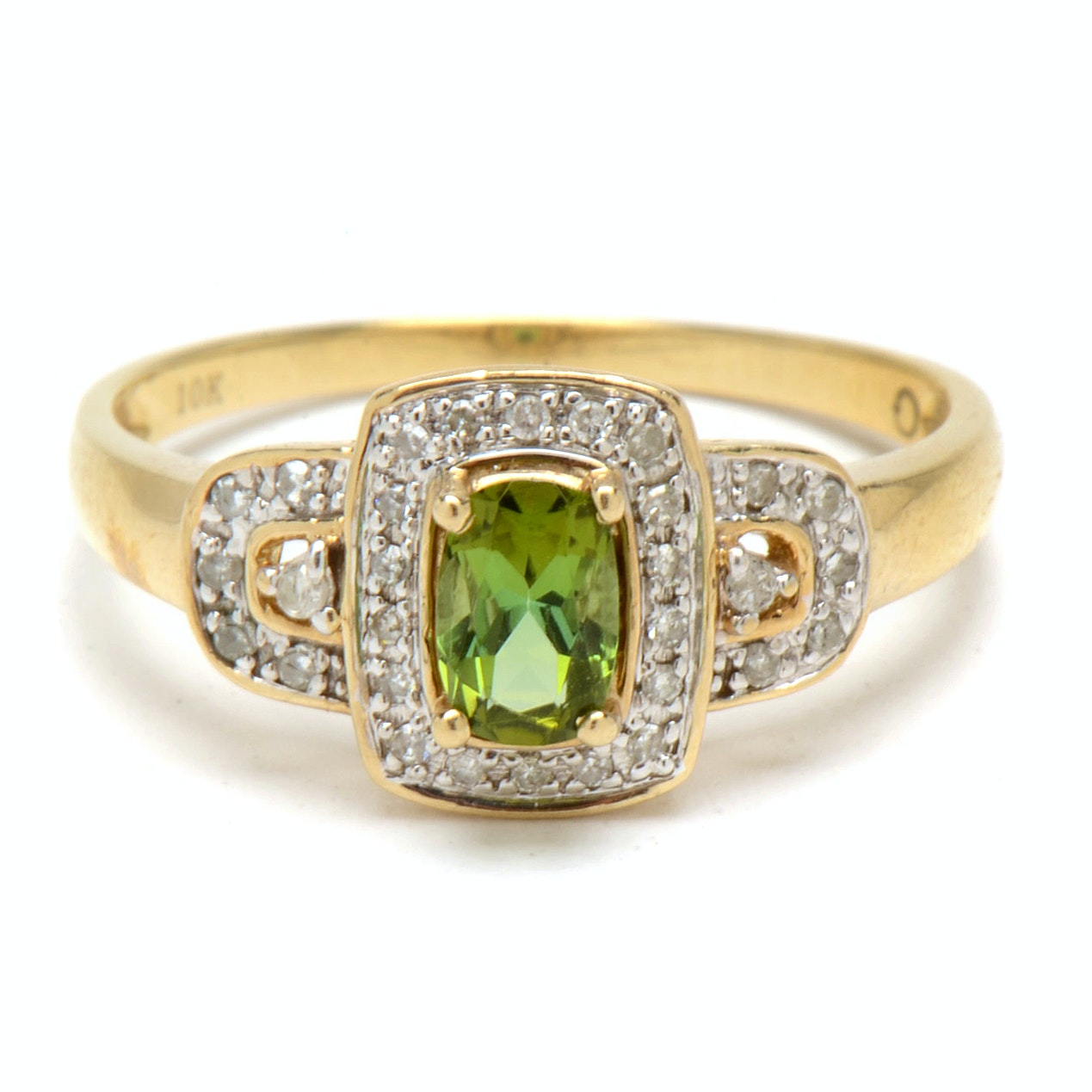 10K Yellow Gold Tourmaline Diamond Fashion Ring