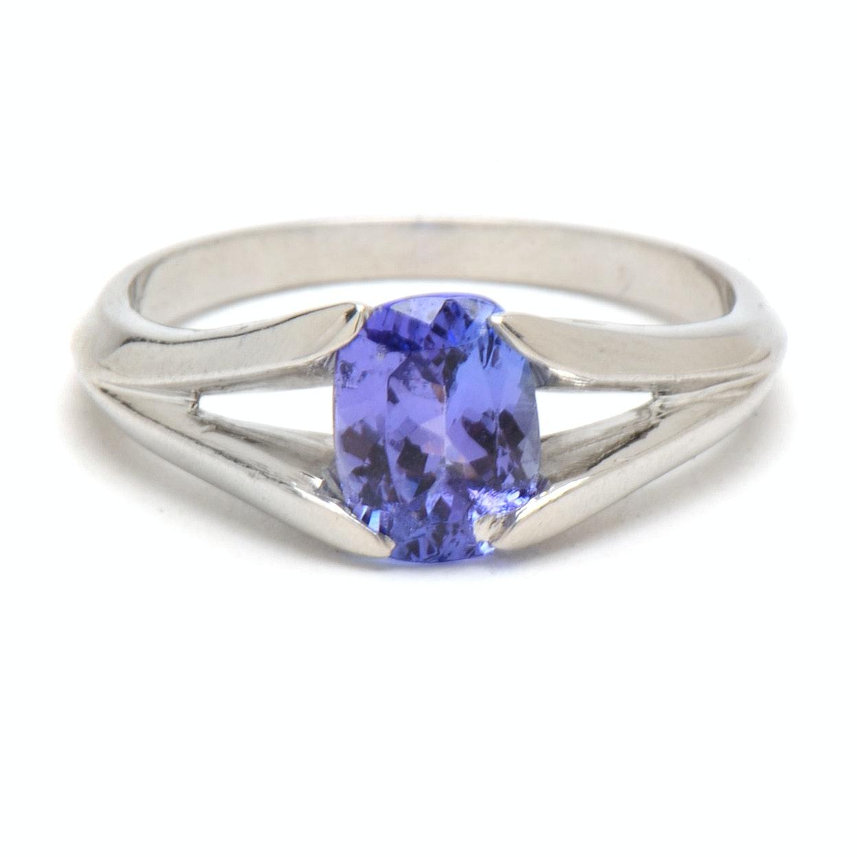 Platinum Solitaire 1.14 Carat Tanzanite Ring