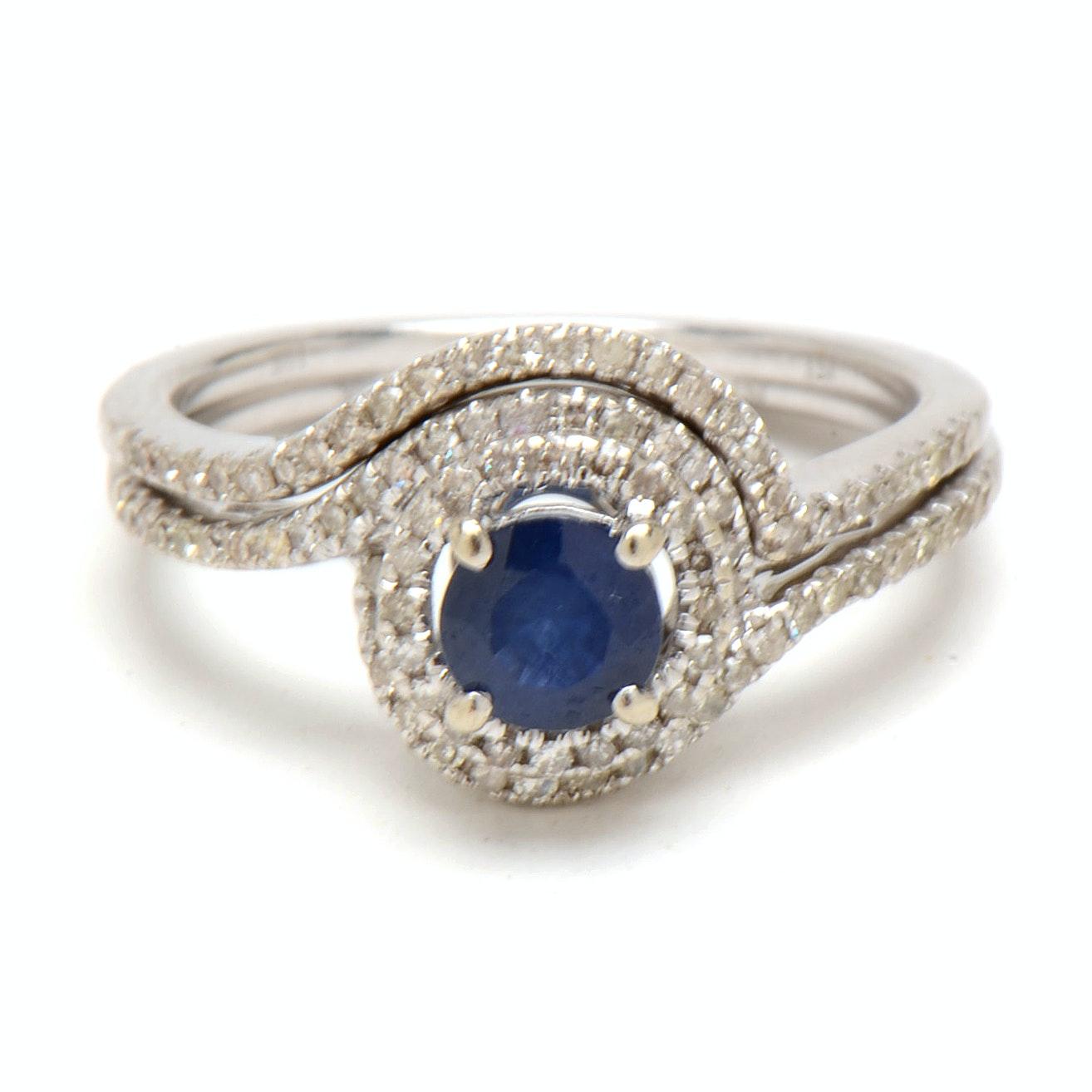 10K White Gold Natural Sapphire Diamond Bridal Ring Set
