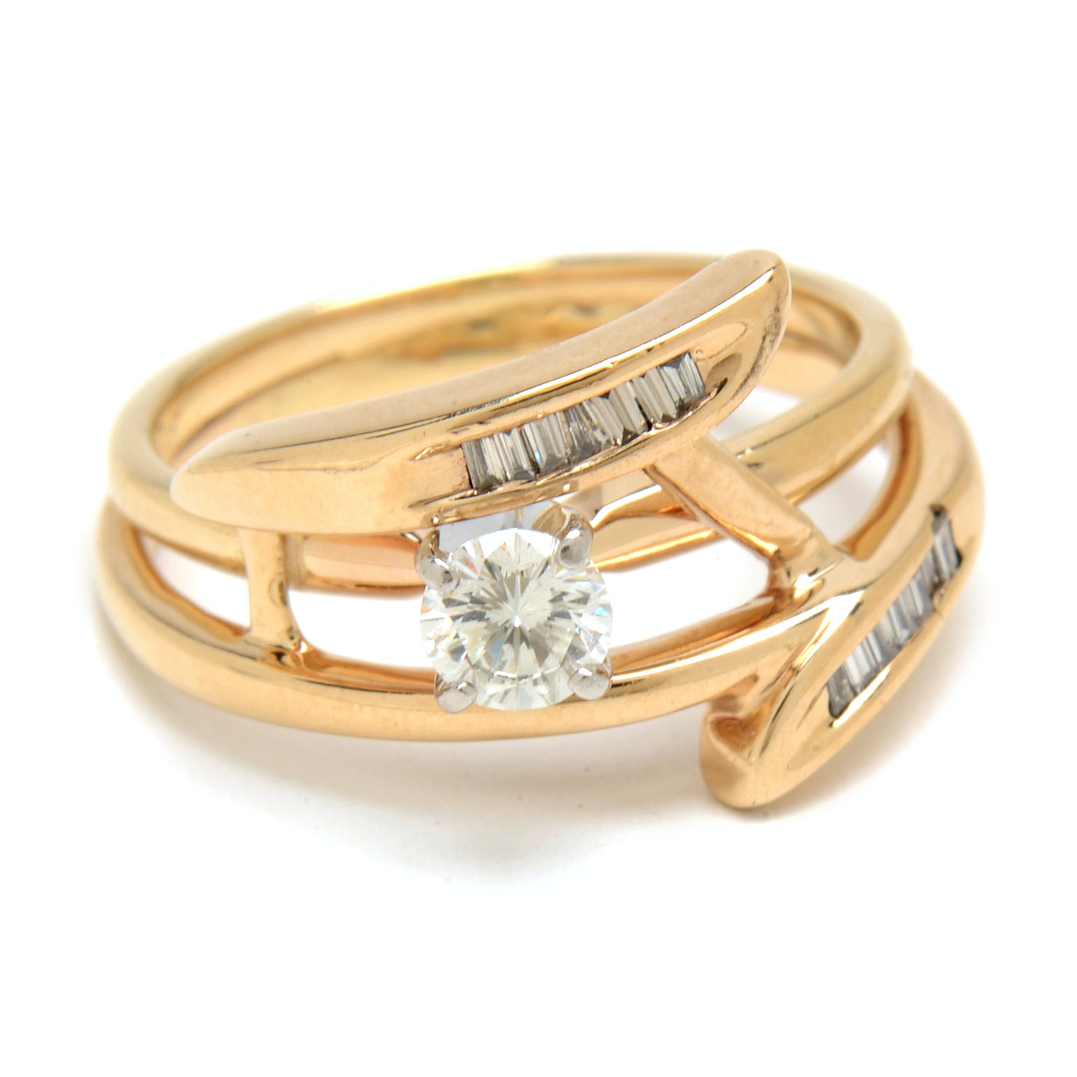 10K and 14K Yellow Gold LEO Diamond Bridal Ring Set