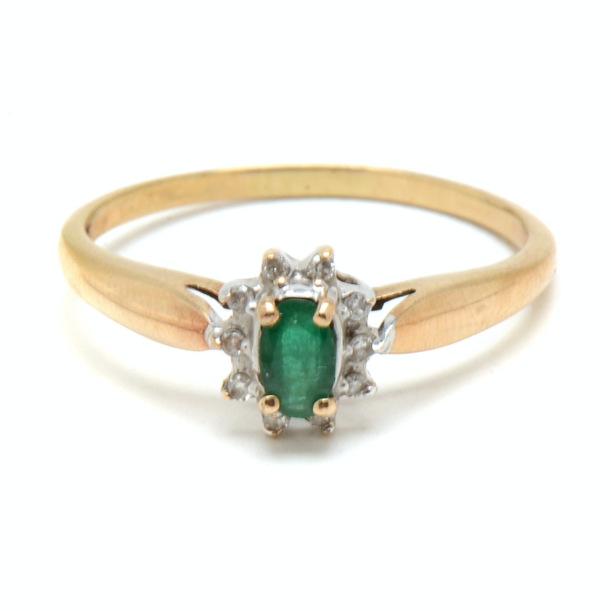 10K Yellow Gold Natural Emerald Diamond Ring