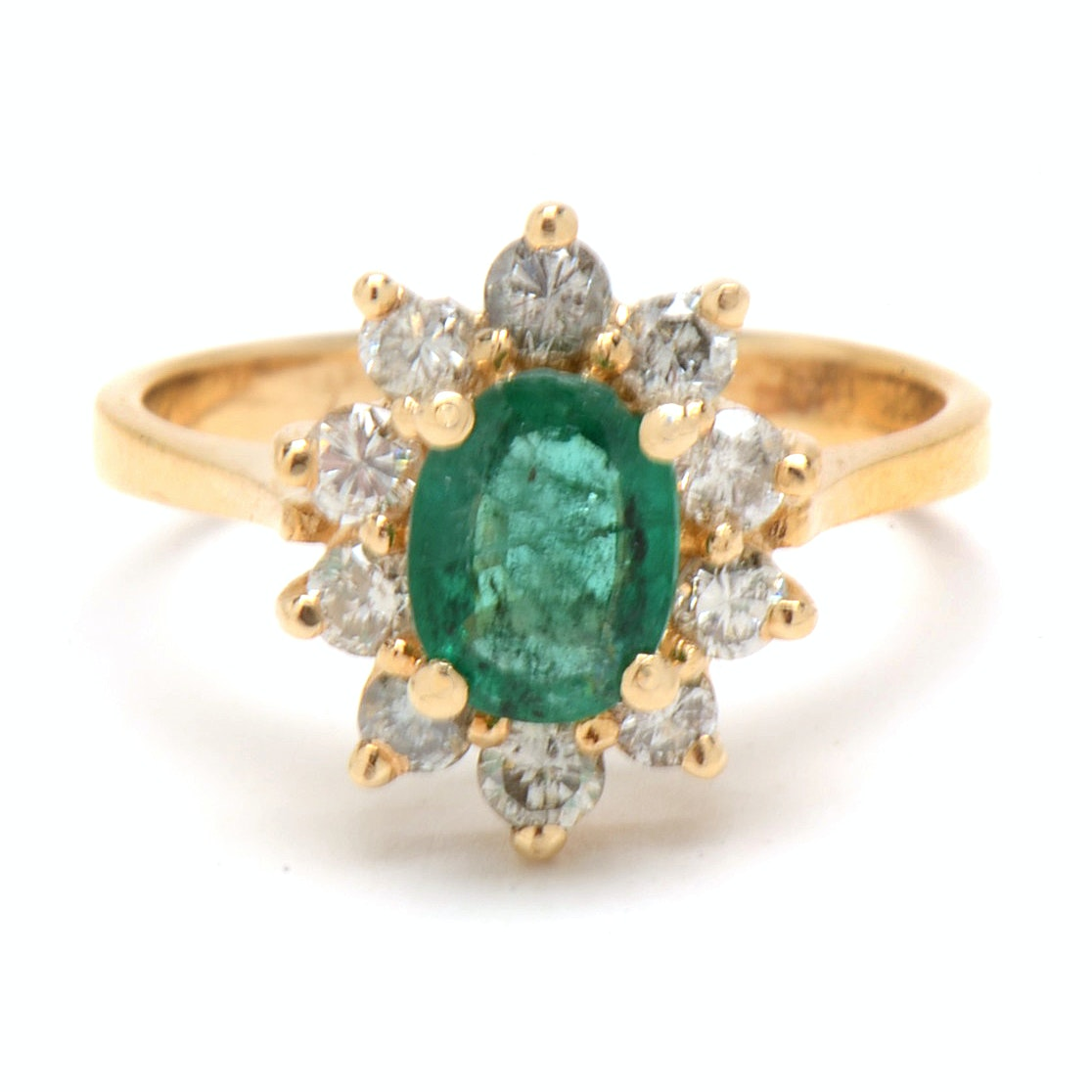 14K Yellow Gold Natural Emerald Diamond Ring