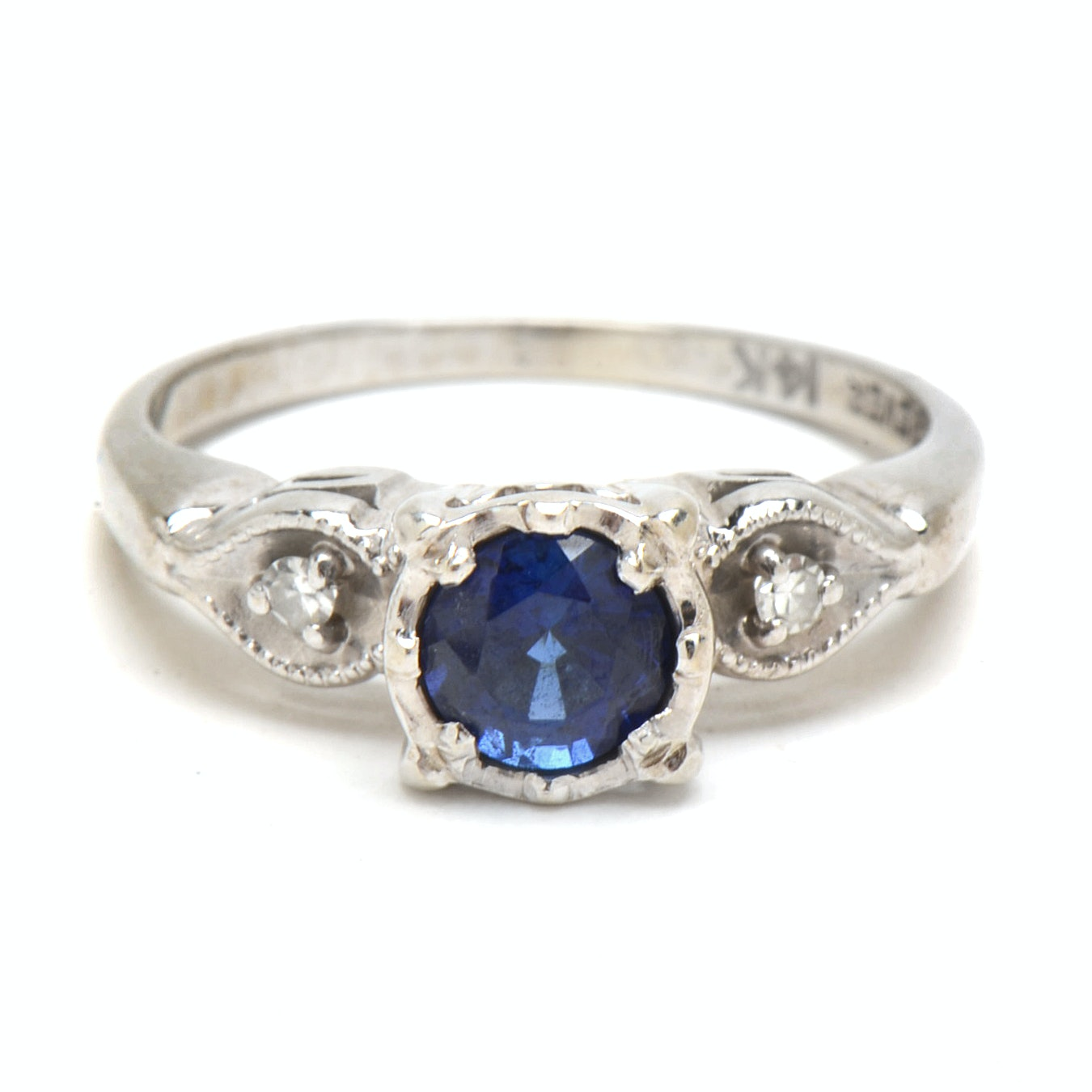 14K White Gold Blue Sapphire Diamond Engagement Ring