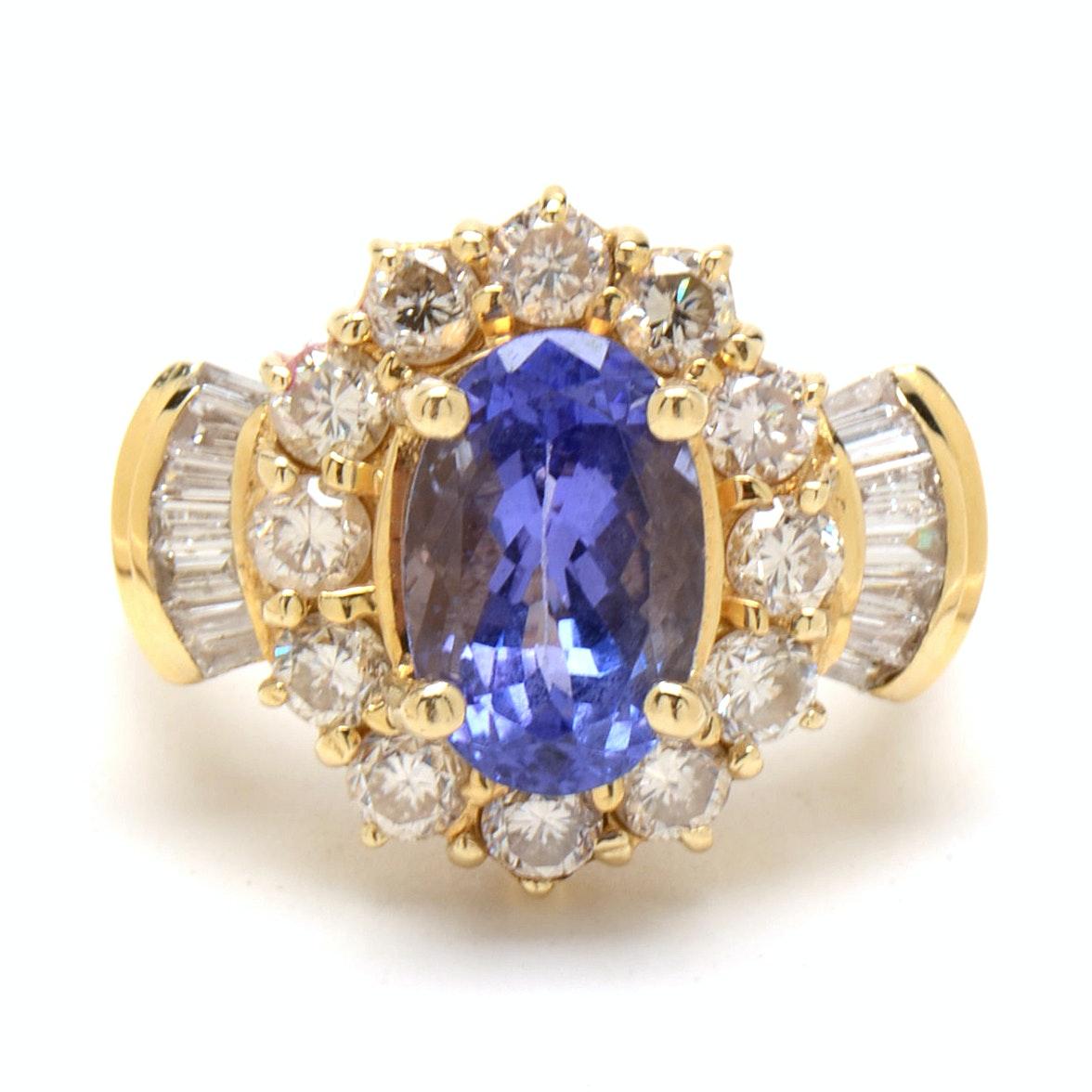 14K Yellow Gold 2.31 CTS Natural Tanzanite Diamond Cocktail Ring