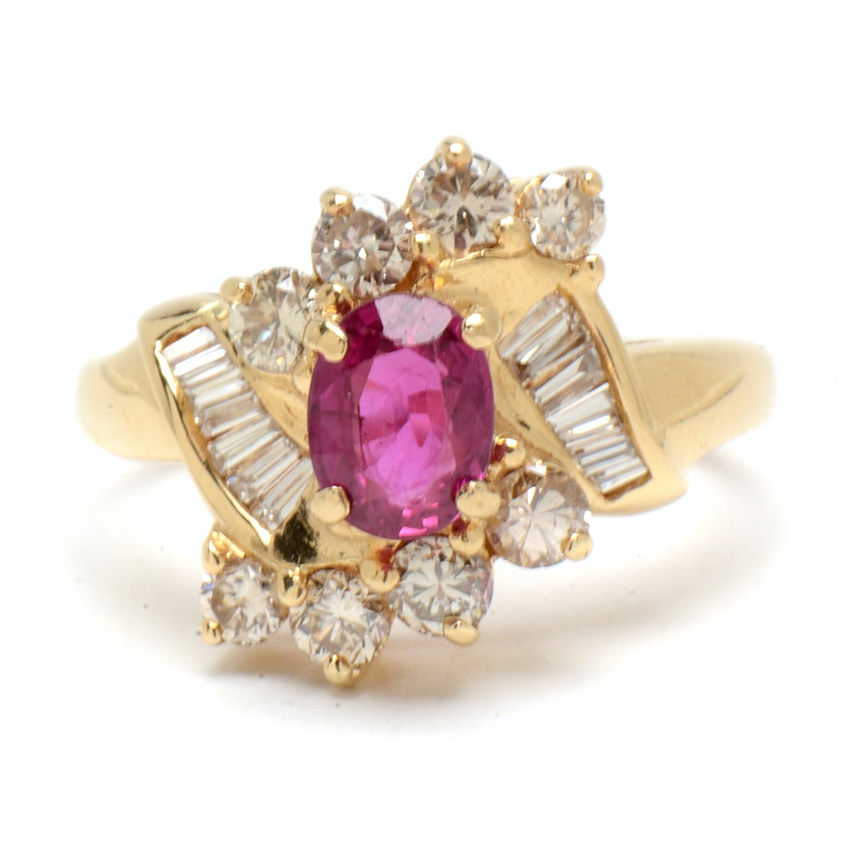 14K Yellow Gold Natural Ruby Diamond Cocktail Ring