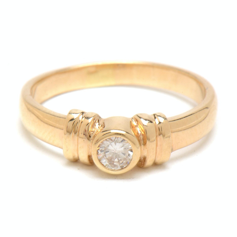 14K Yellow Gold Solitaire Bezel-Set Diamond Ring