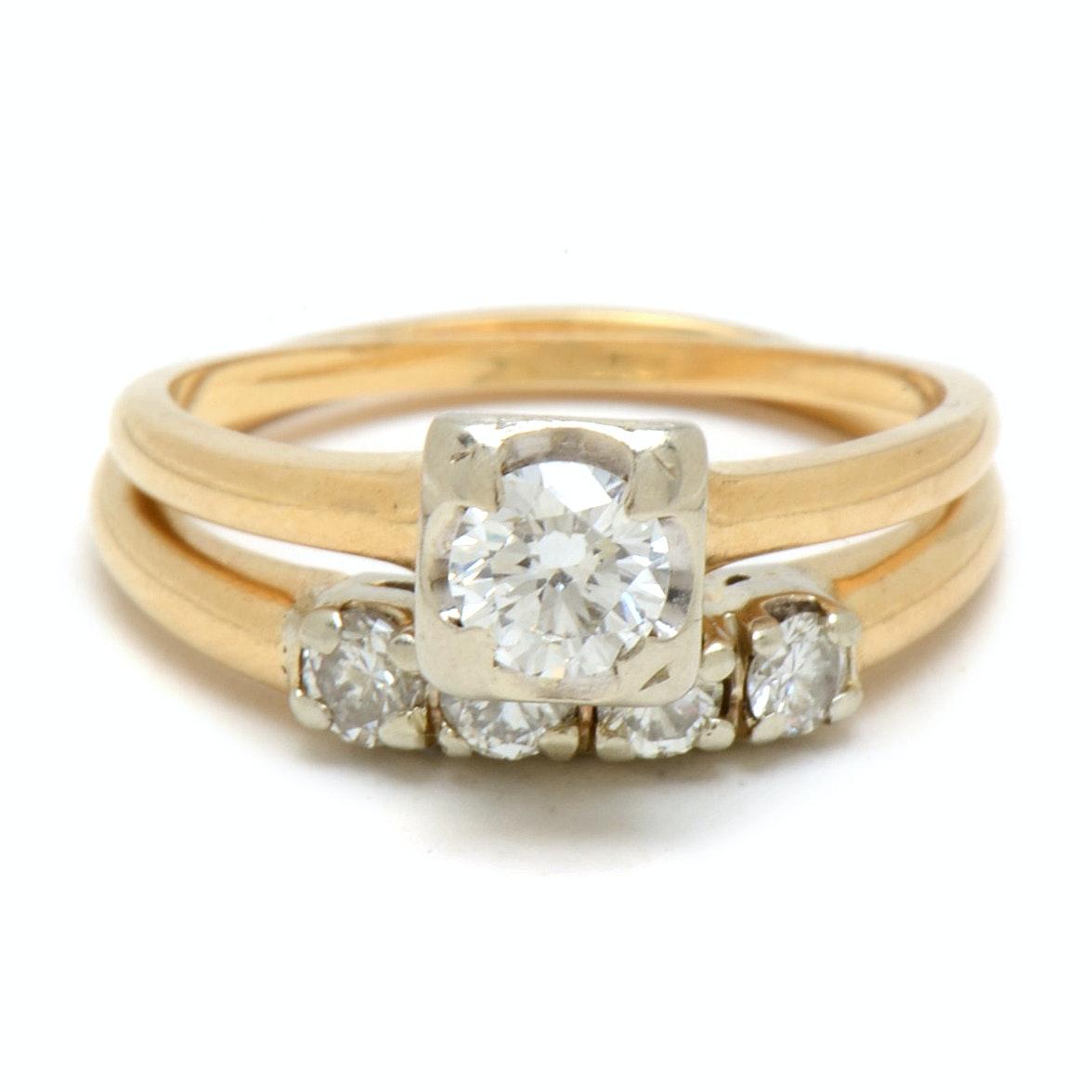 Vintage 14K Yellow Gold Diamond Bridal Set