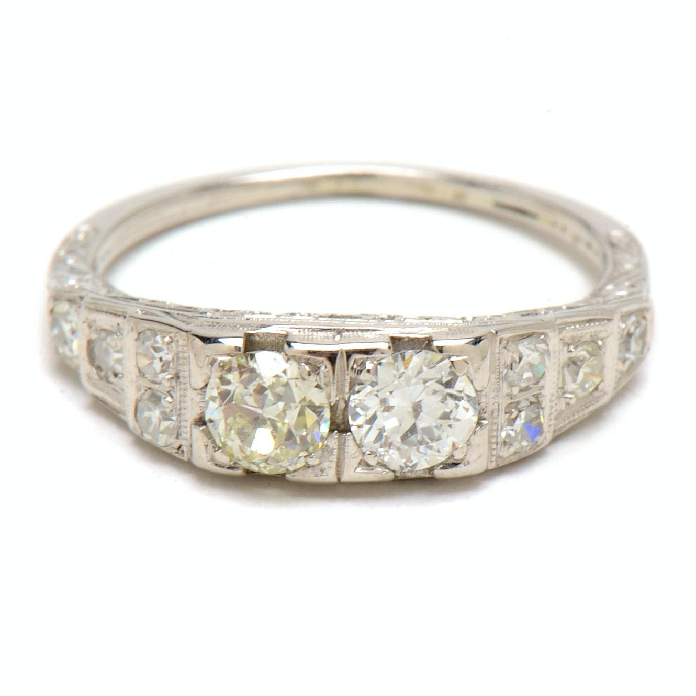 Edwardian 18K White Gold Diamond Engagement Ring
