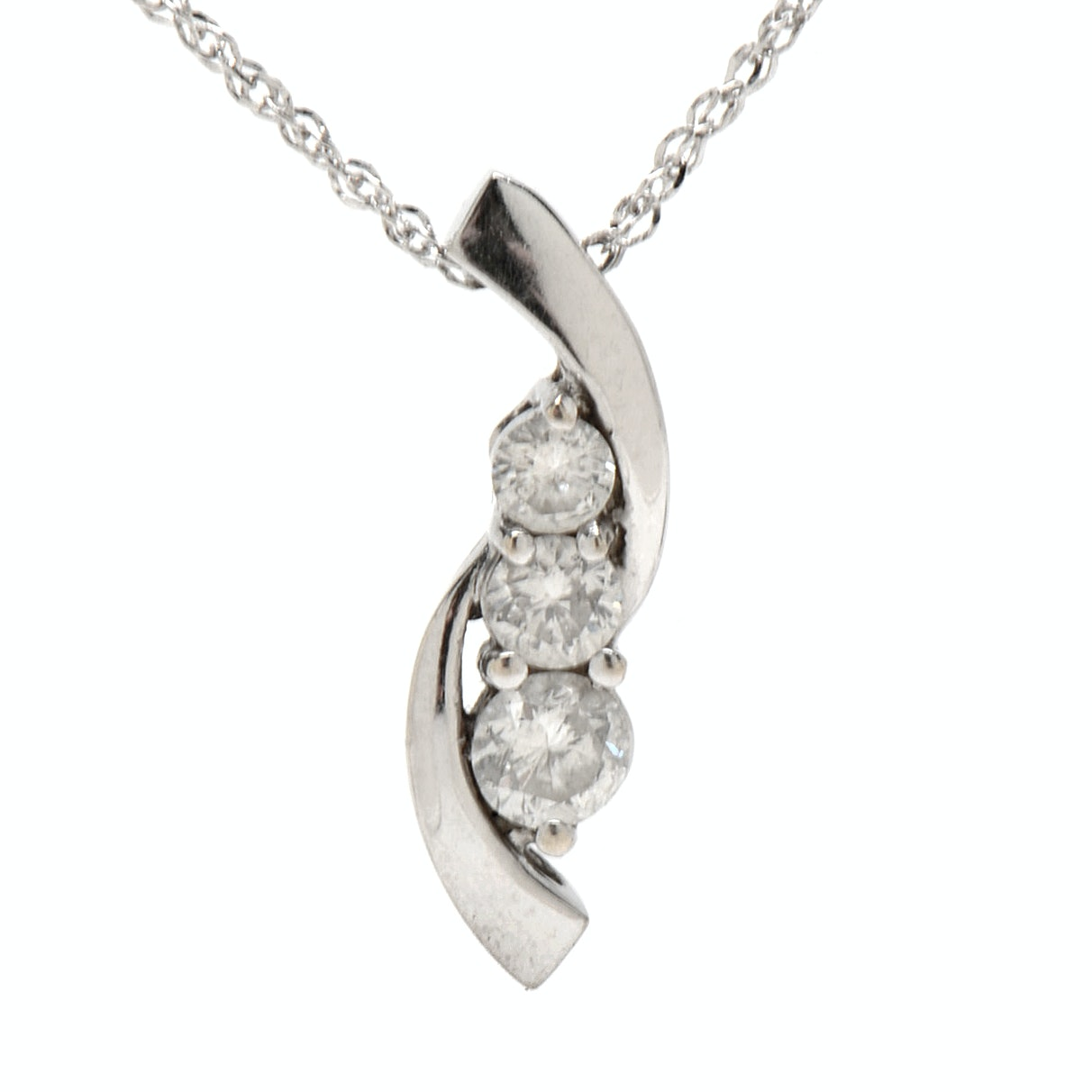 14K White Gold Journey Diamond Pendant Necklace