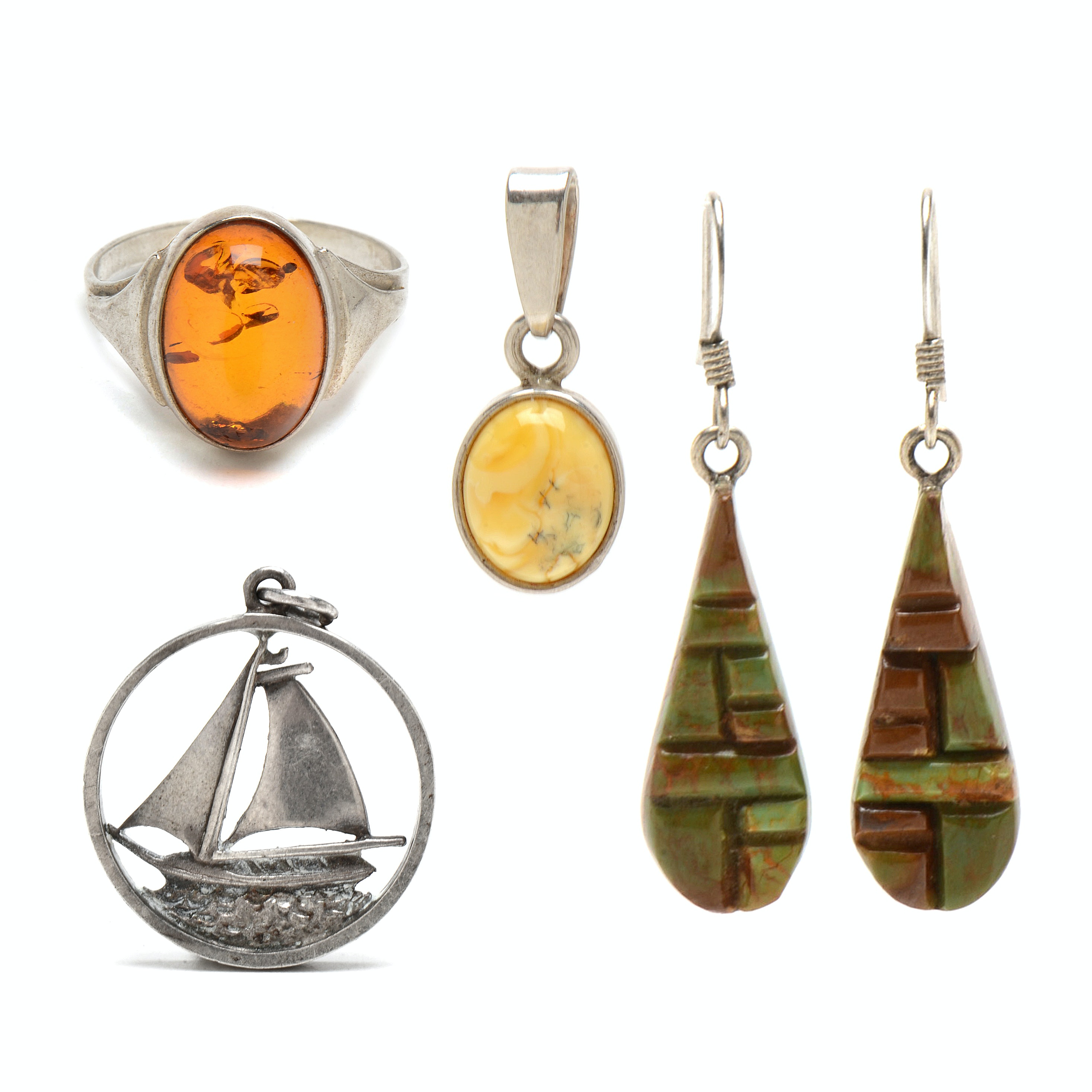 Collection of Sterling Silver Jewelry with Amber and Turquoise