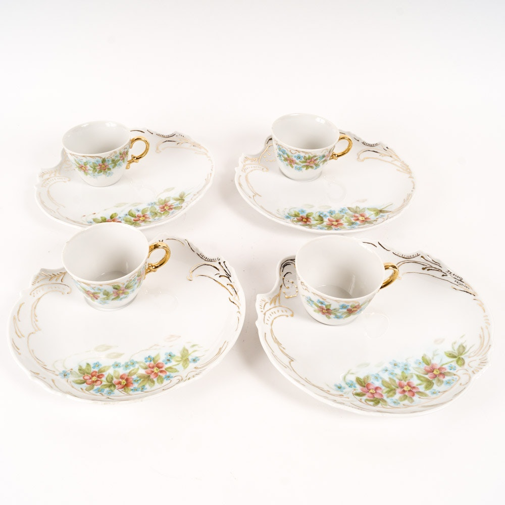 Hand-Painted Porcelain Cups and Saucers