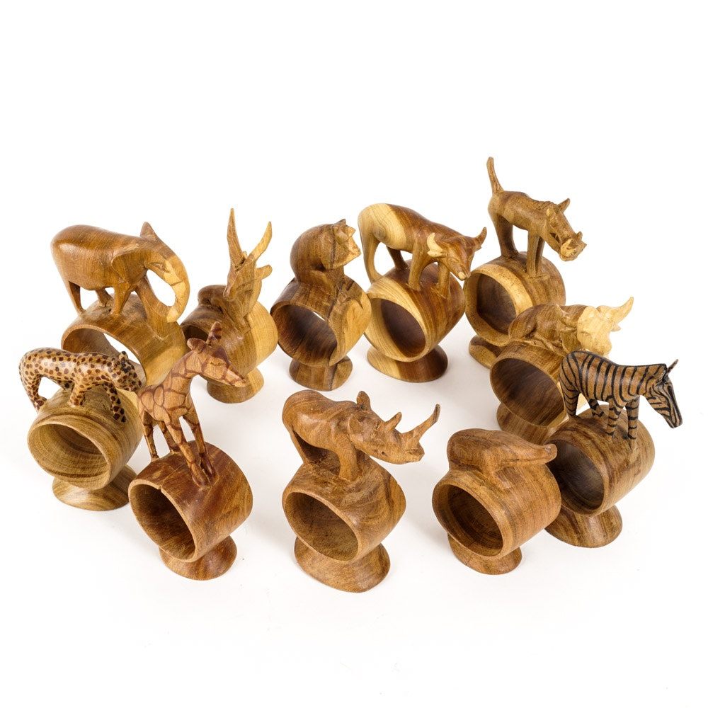 Wooden African Napkin Rings