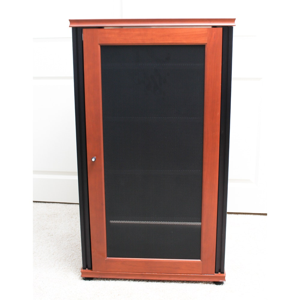 Cherry and Metal Entertainment Cabinet