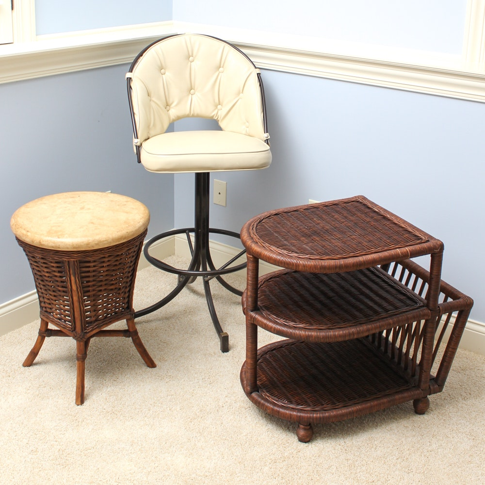 Modern Style Bar Chair and Wicker Accent Furniture