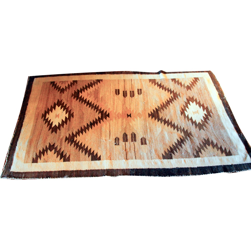 Vintage Handwoven Native American Style Area Rug