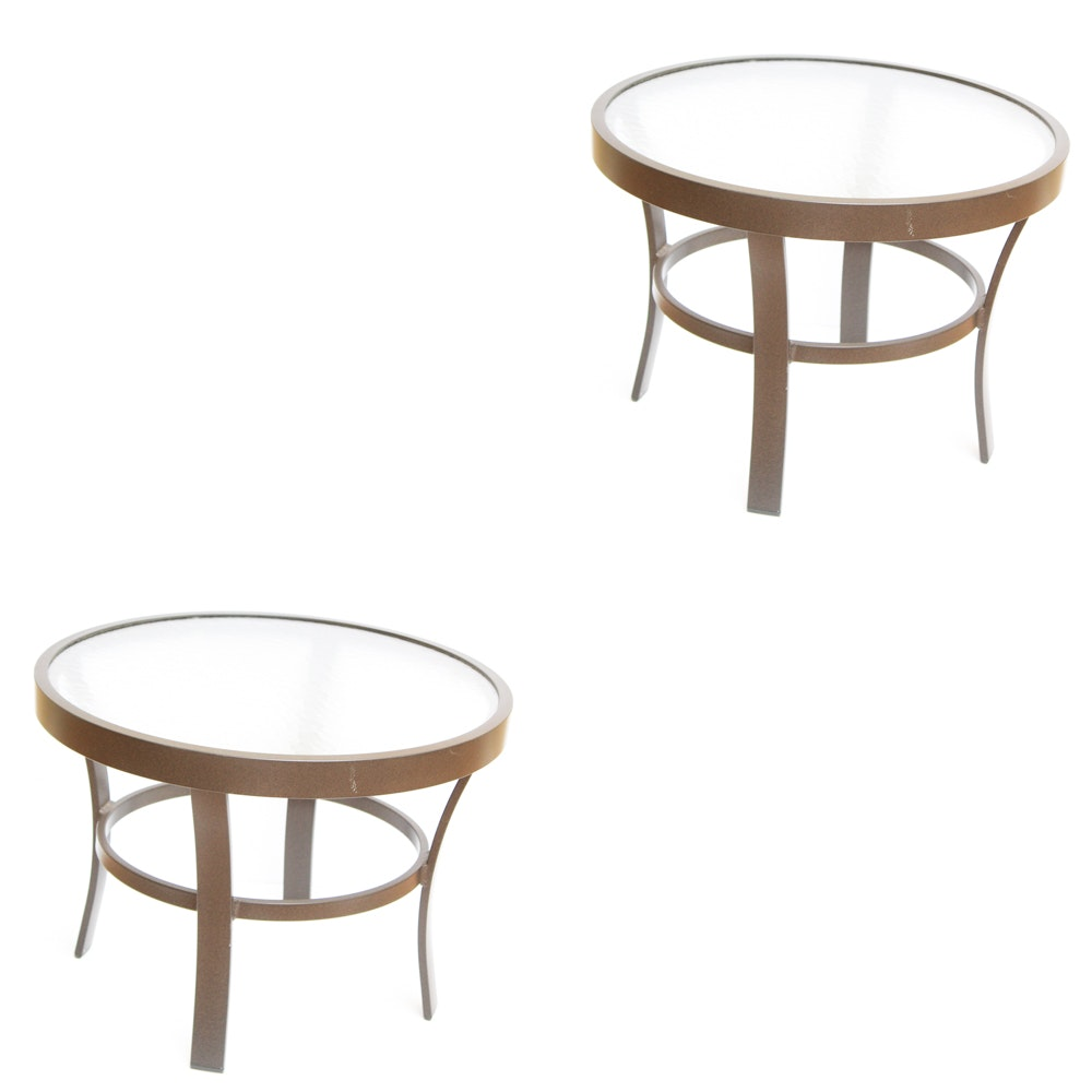 Two Glass Top Patio Side Tables