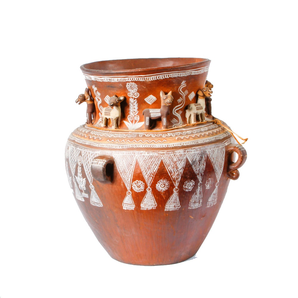 Ceramic Vessel with Hand Painted Designs