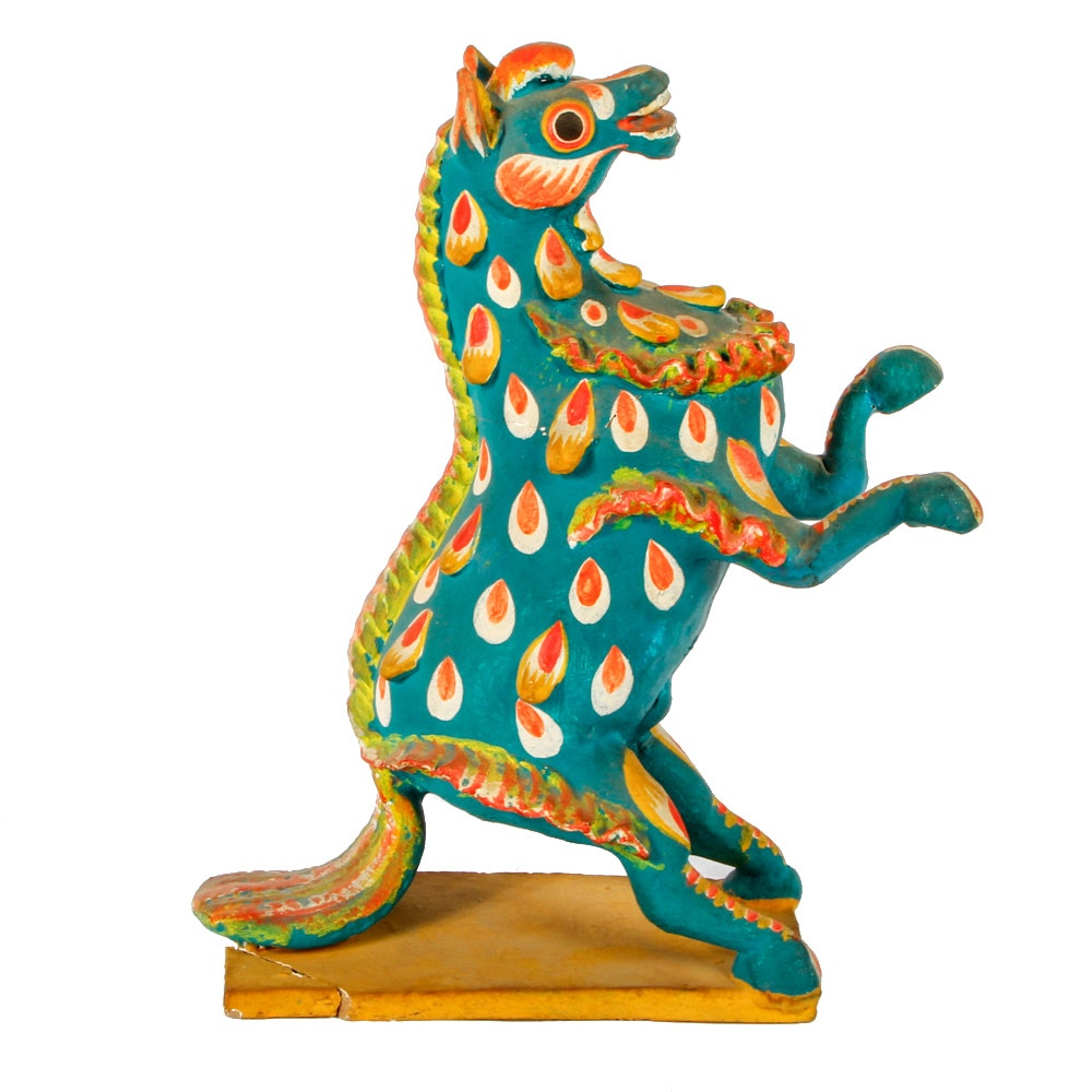 Folk Art Ceramic Hand Painted Horse