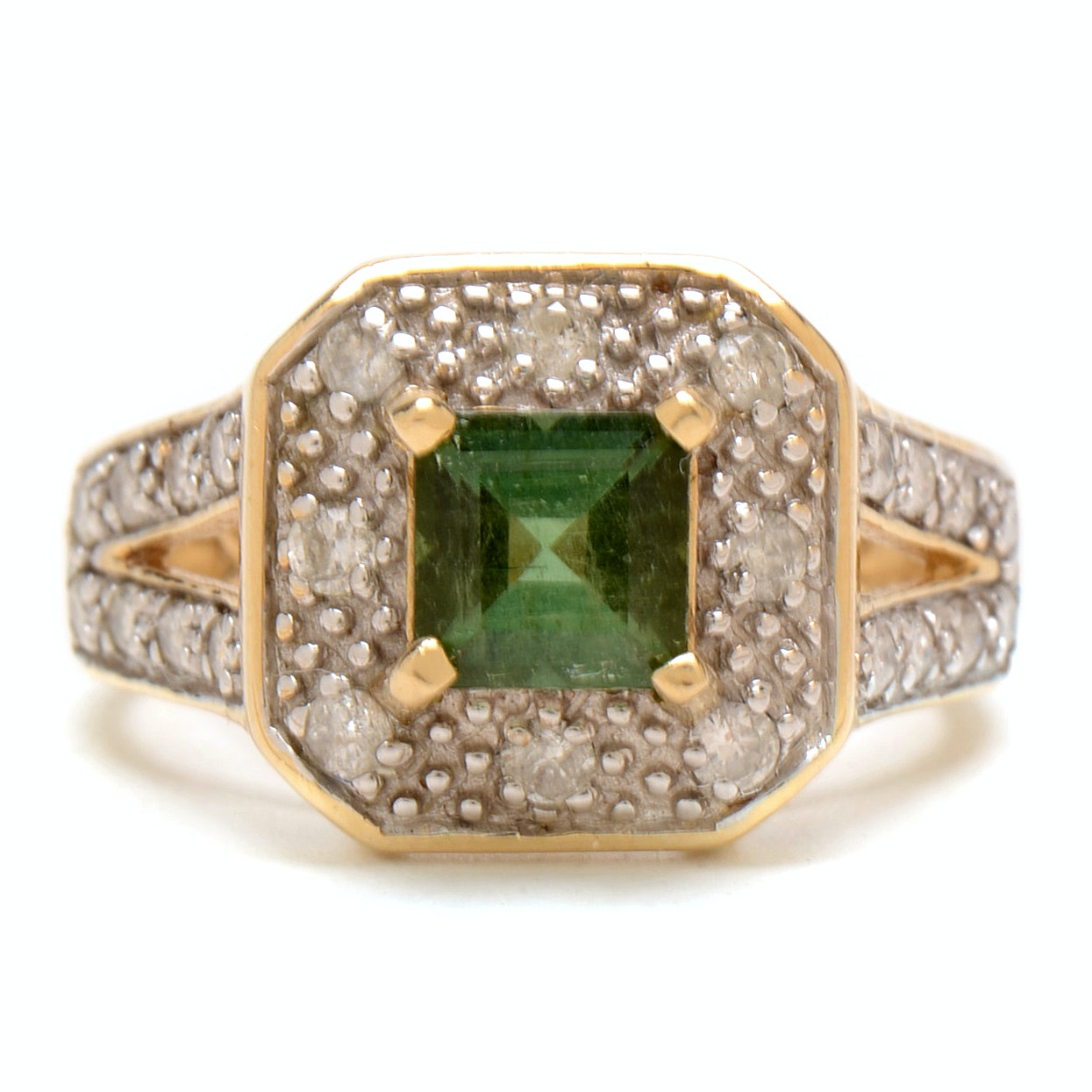 14K Yellow Gold Green Tourmaline Diamond Cocktail Statement Ring