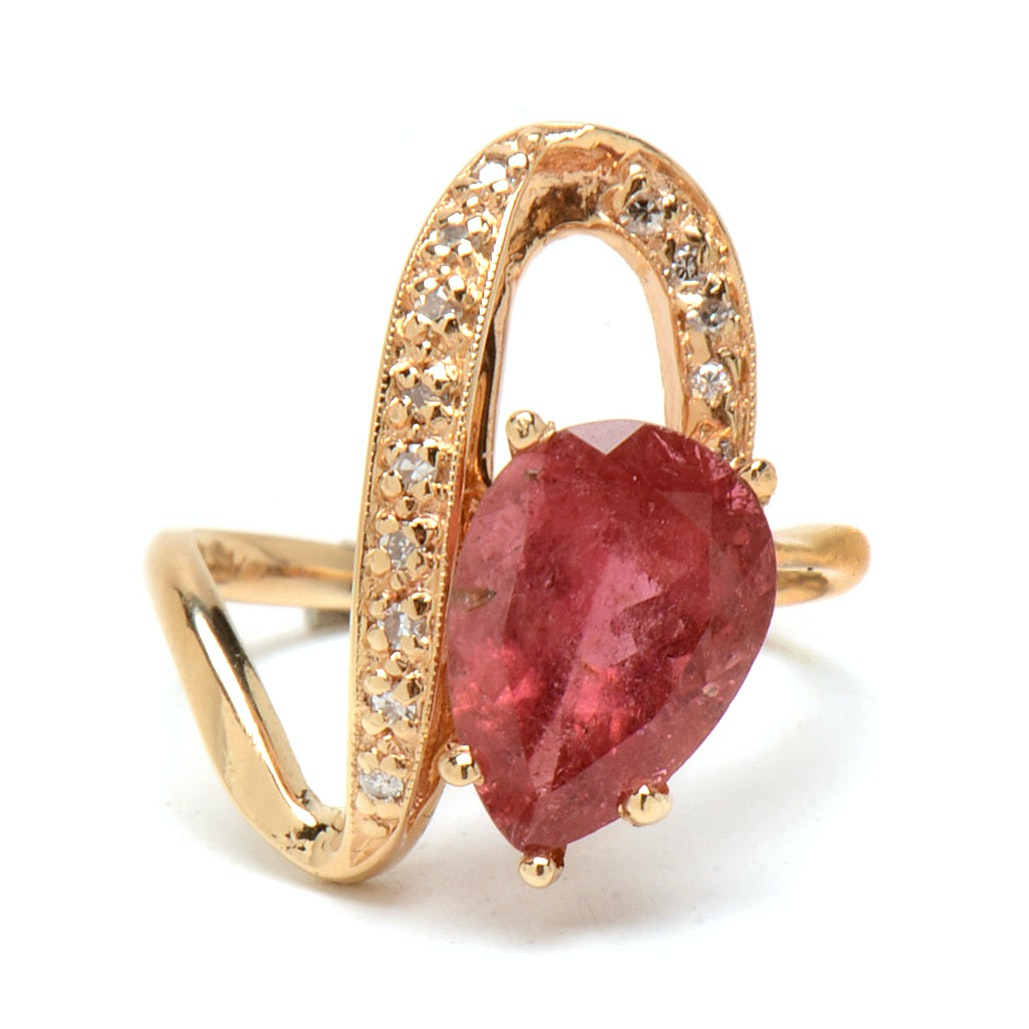 14K Yellow Gold Pink Tourmaline Diamond Cocktail Ring