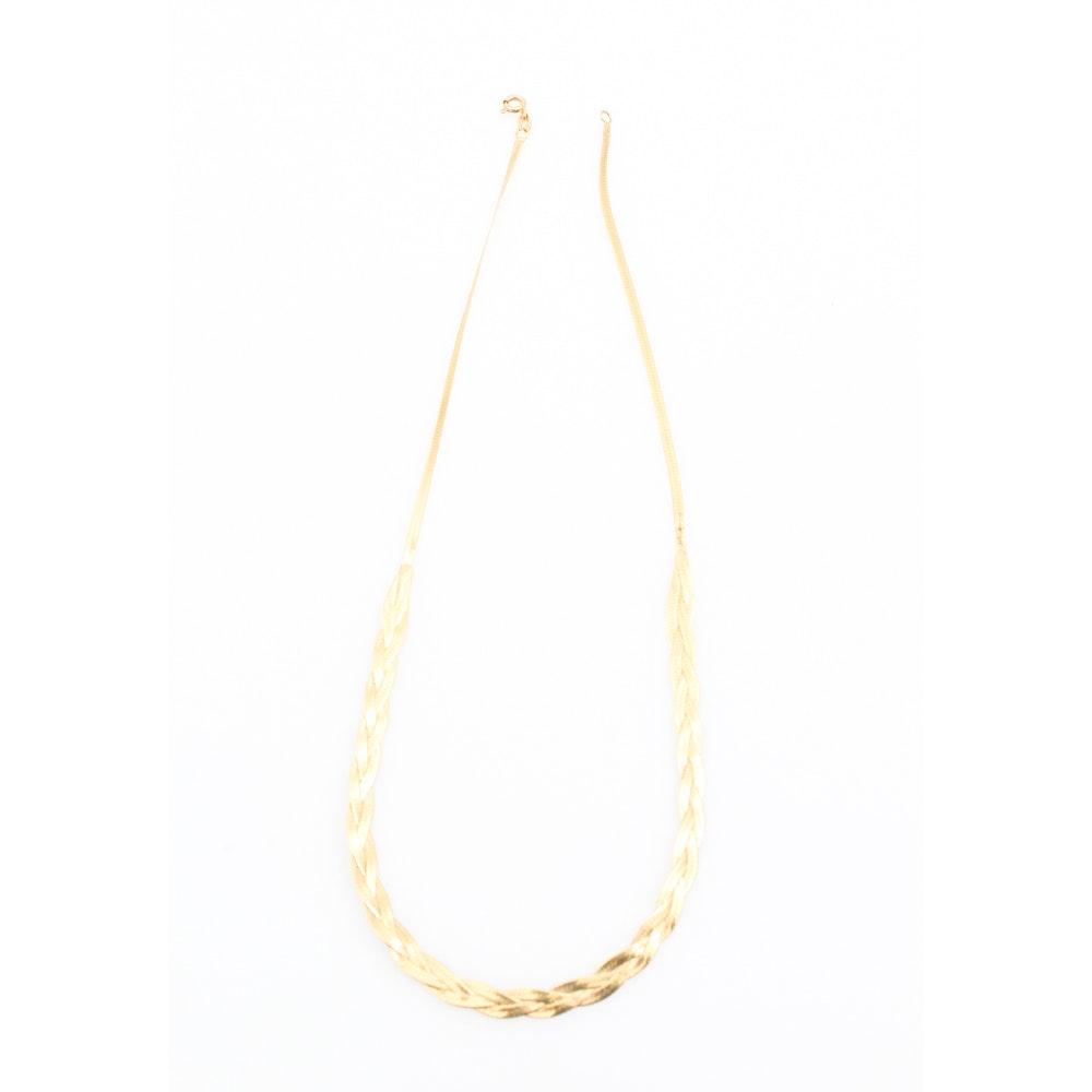 14K Yellow Gold Braided Herringbone Chain