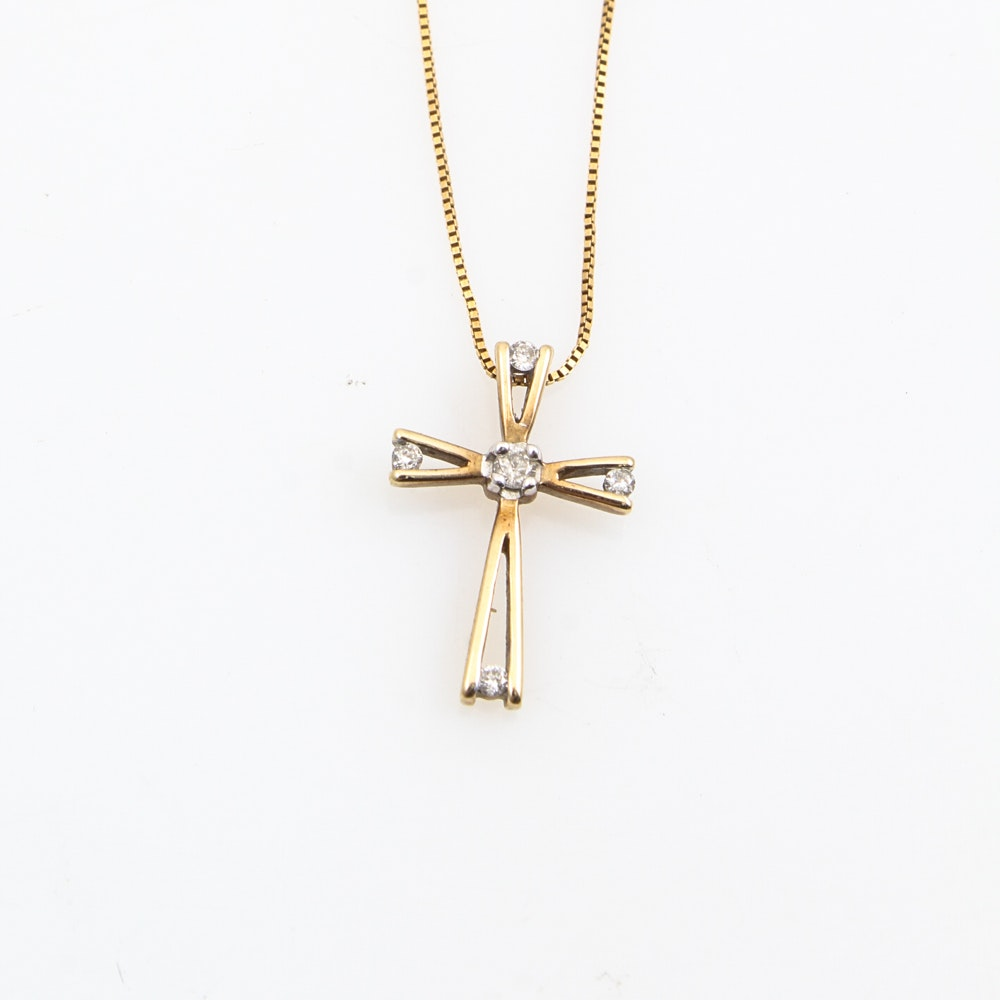 18K Yellow Gold Chain with 10K Yellow Gold and Diamond Cross