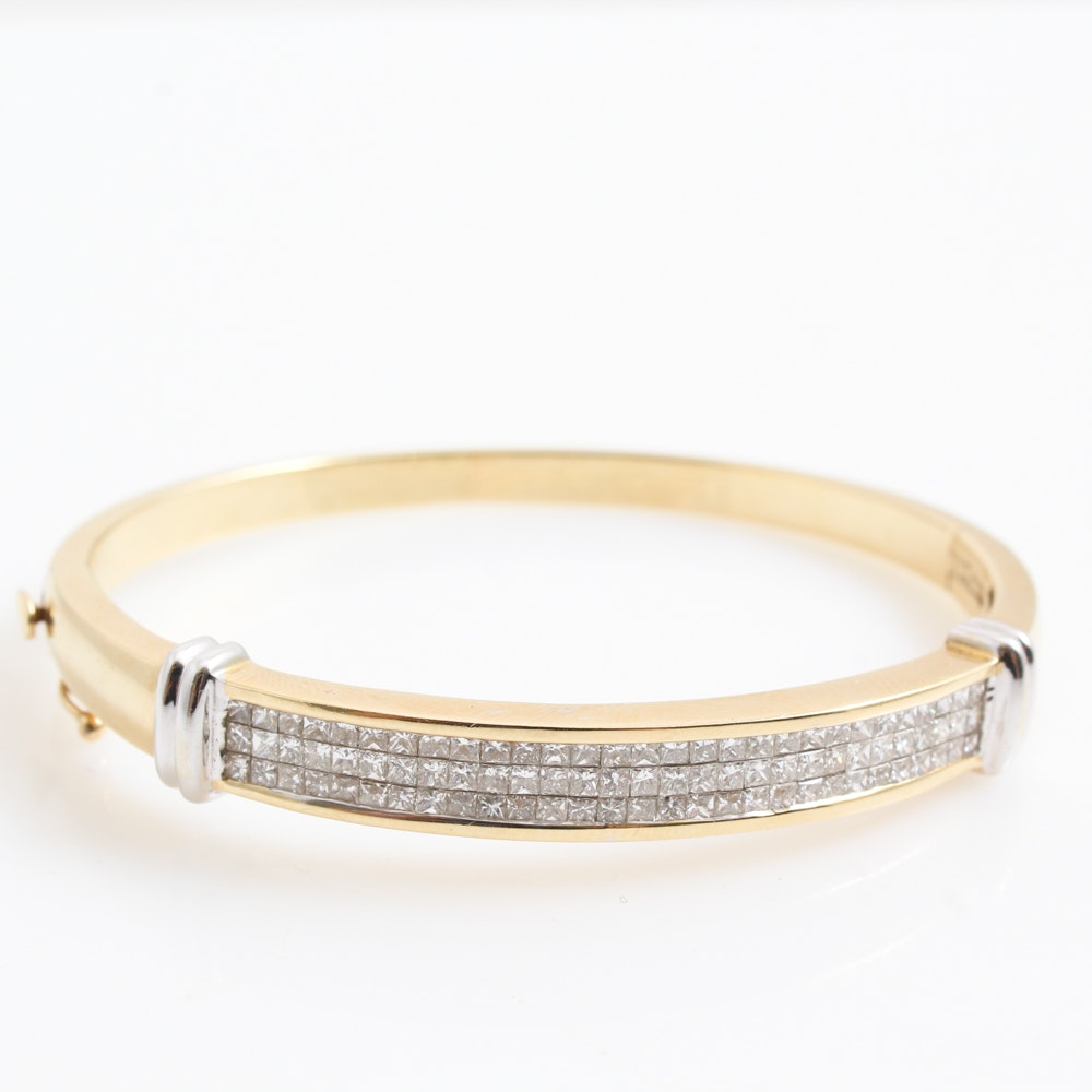 14K Yellow Gold and 1.50 CTW Diamond Bangle