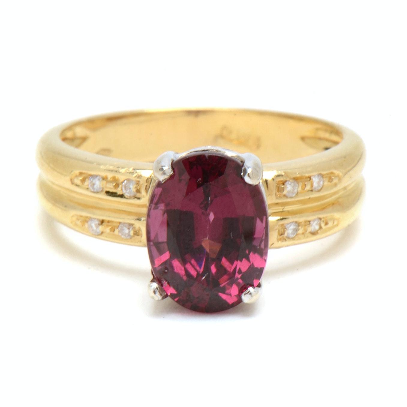 18K Yellow Gold Rhodolite Garnet Diamond Ring