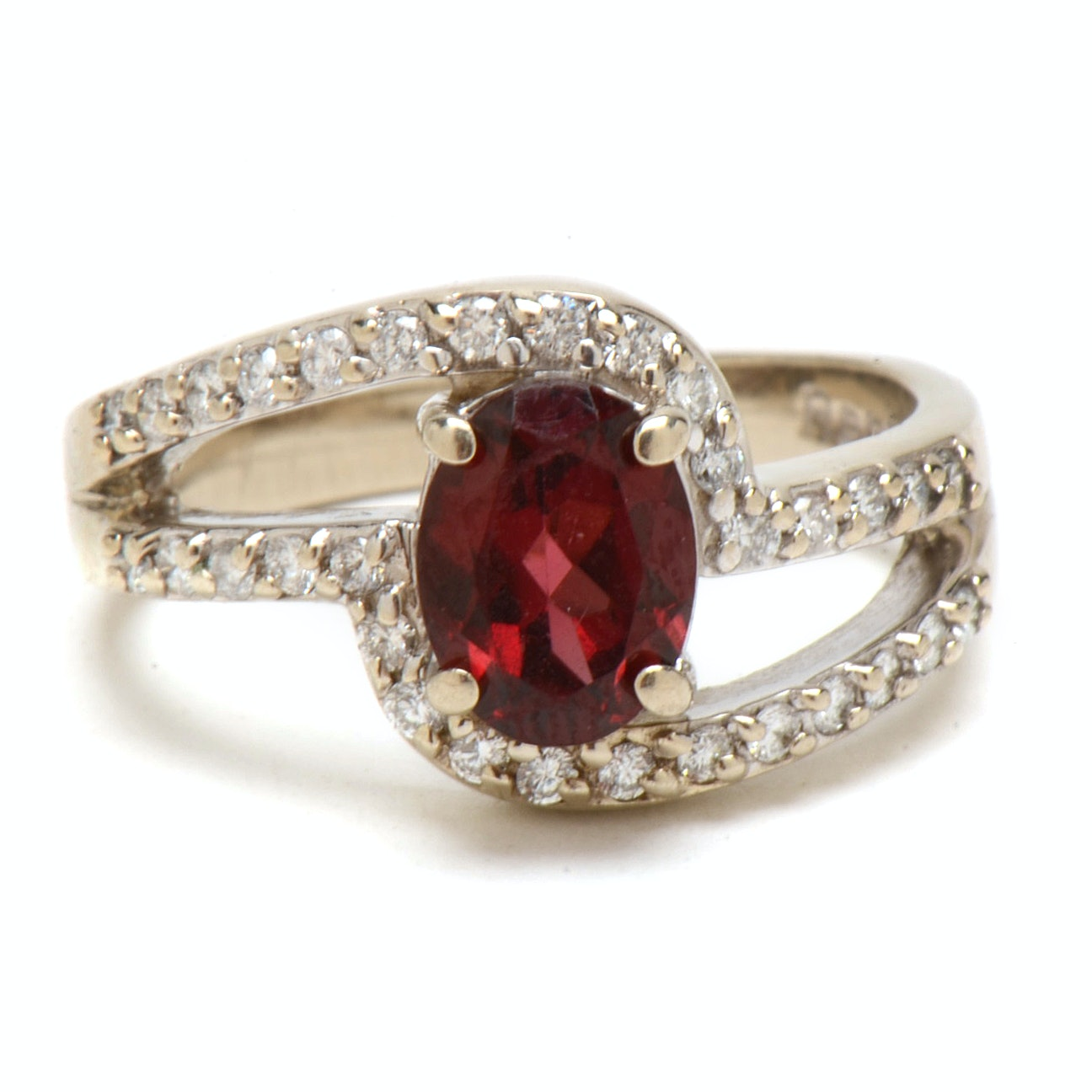 14K White Gold Rhodolite Garnet Diamond Fashion Ring