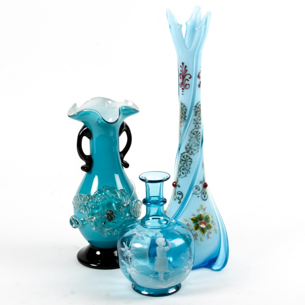 Blue Blown Glass Vases