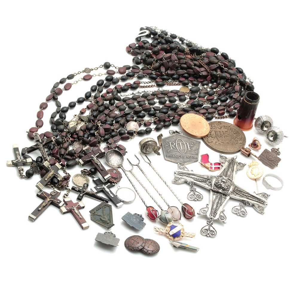 Assortment of Rosaries, Lapel Pins, and Miscellaneous Sundries