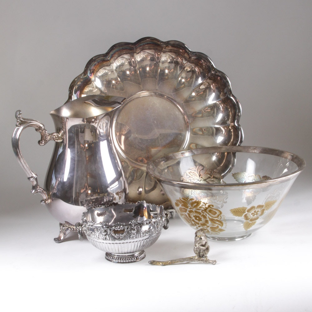 F.B. Rogers Silver Plate Bowl With Additional Pieces