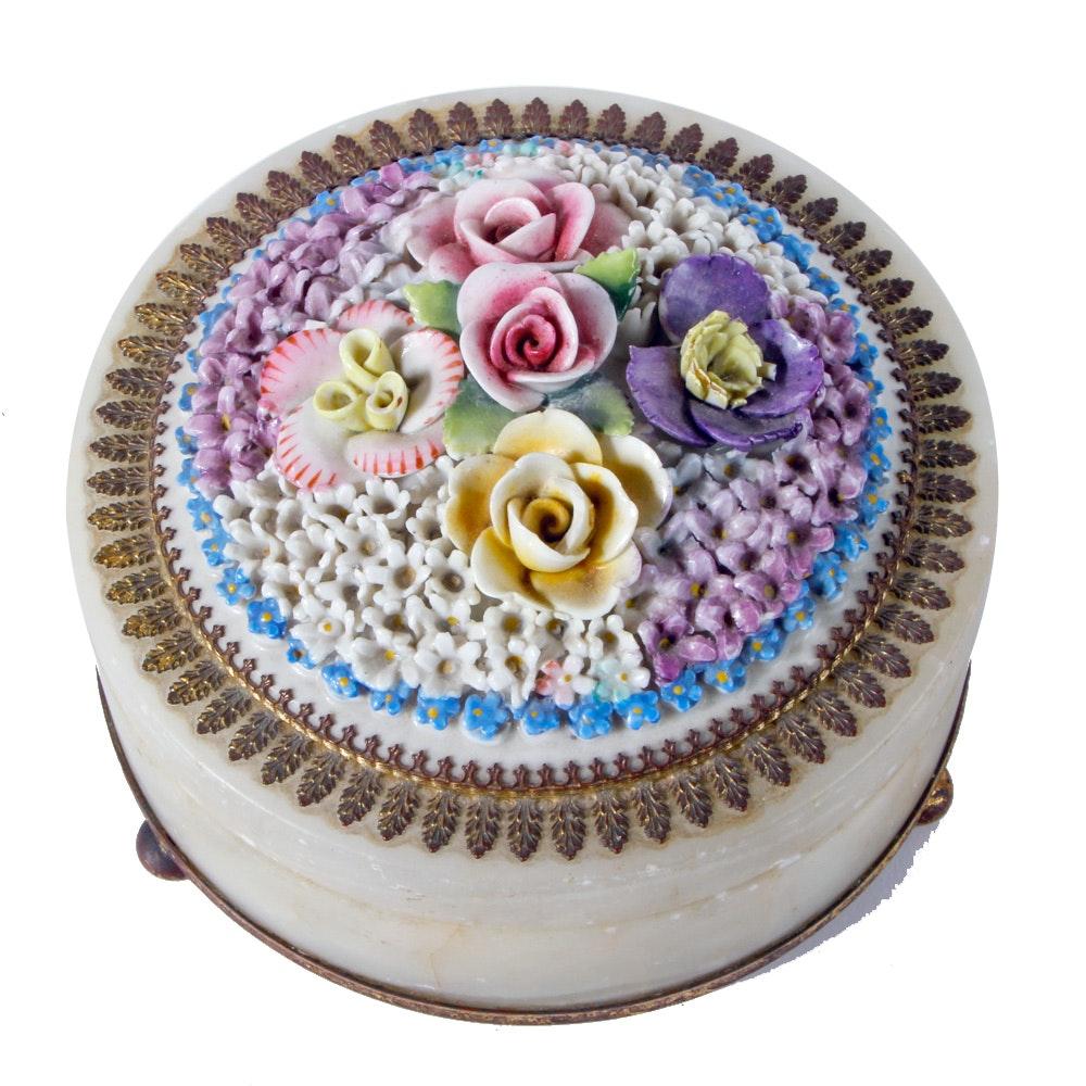 Vintage Stone and Porcelain Floral Trinket Box