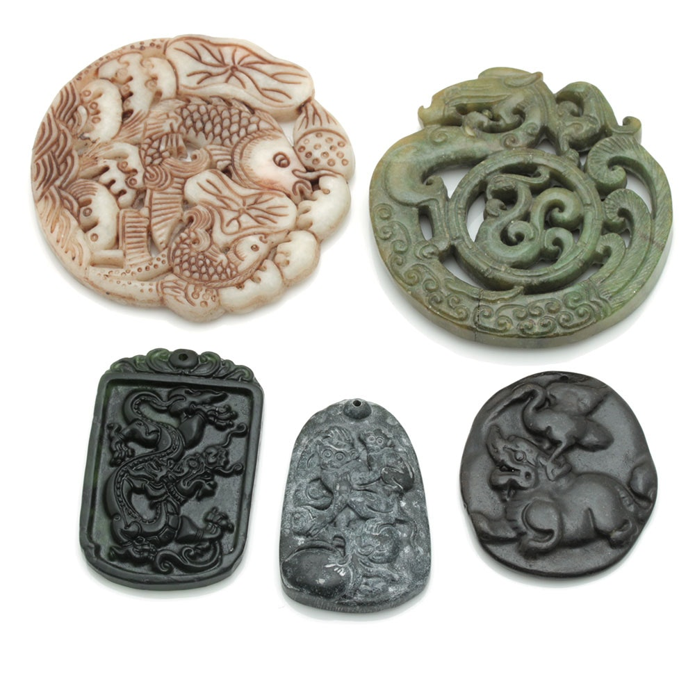 Carved Stone Chinese Pendants and Medallions