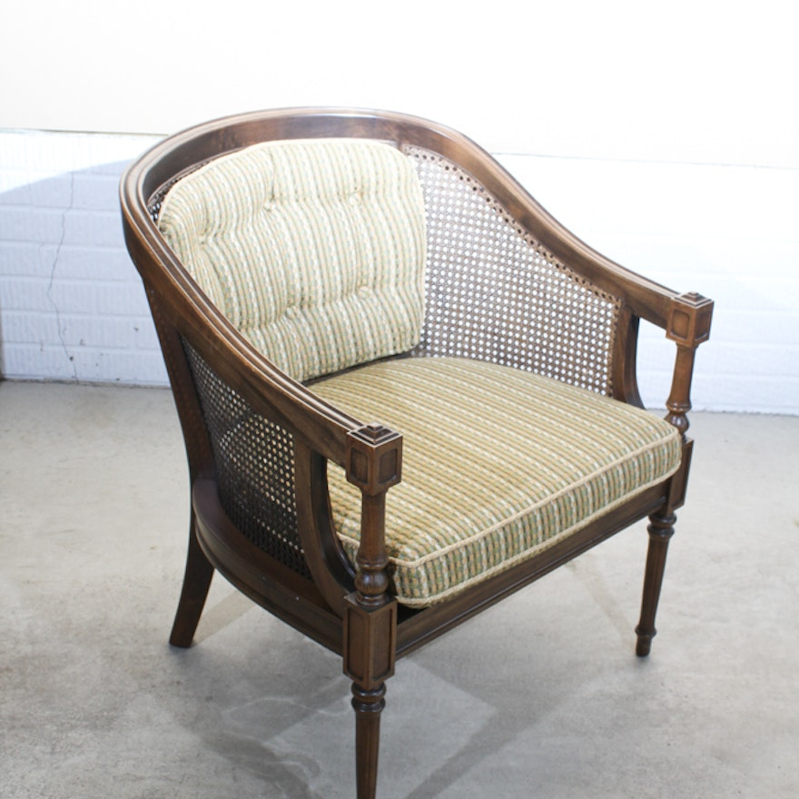 Cane Back Bergére Chair By Ethan Allen