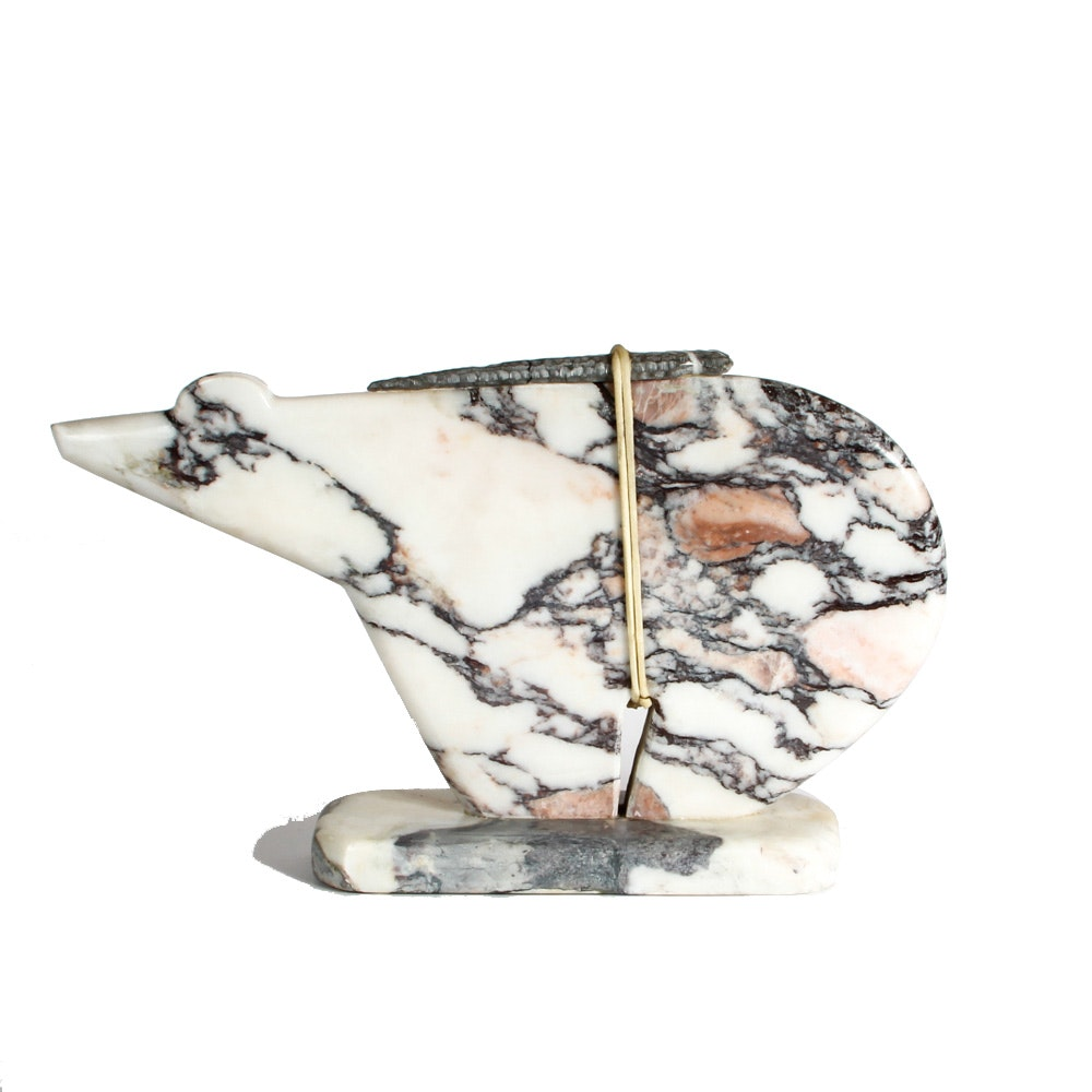 Carved Marble Polar Bear Fetish