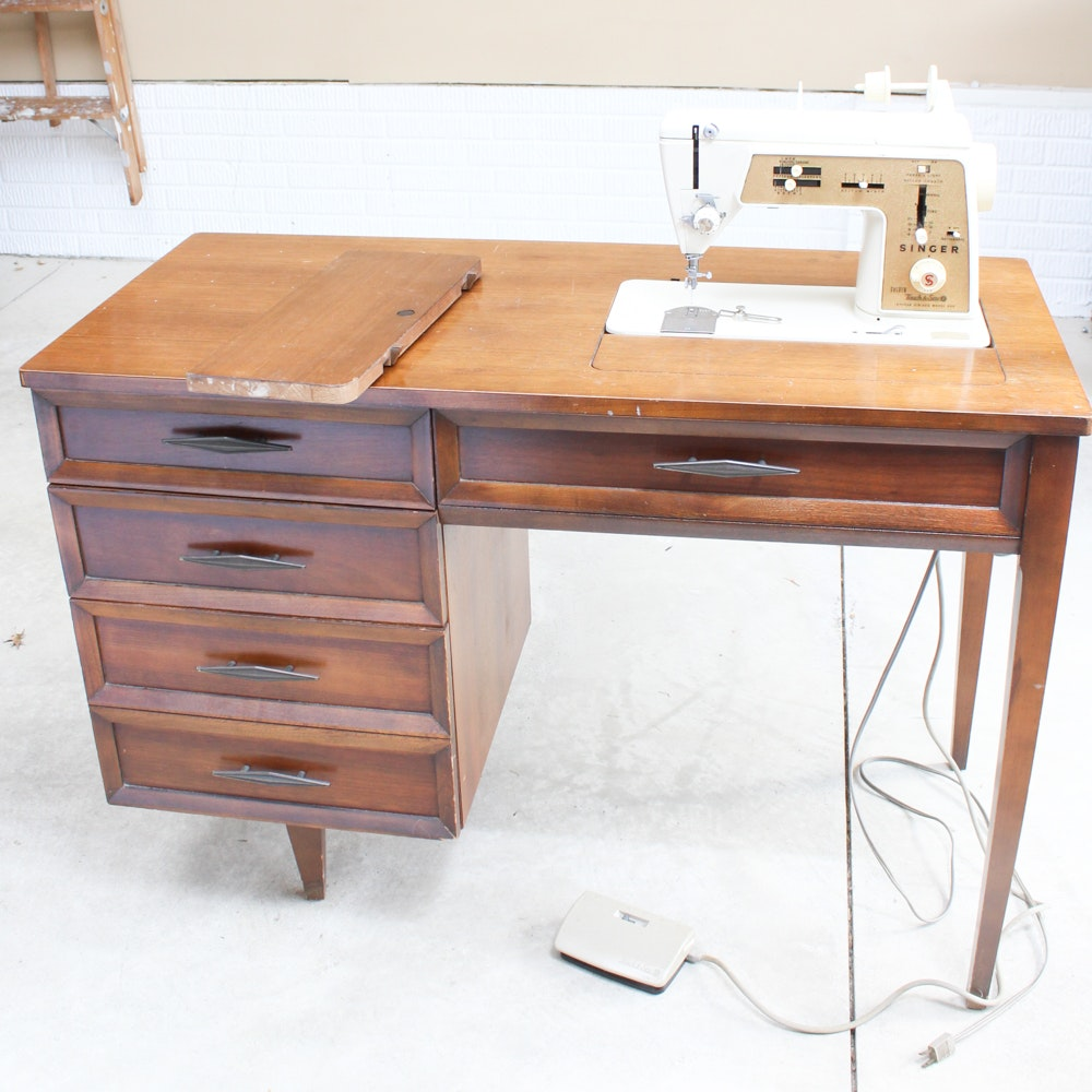 Retro Singer Sewing Machine and Table