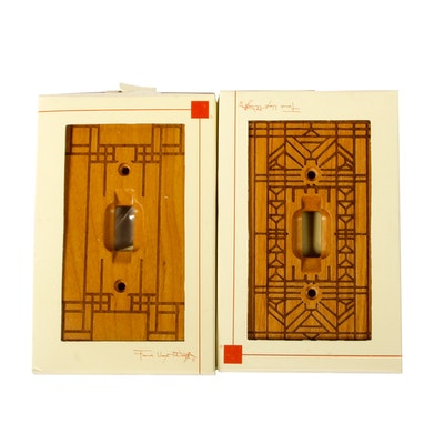 Pair of Wooden Frank Lloyd Wright Light Switch Covers By Uni-Art Marketing