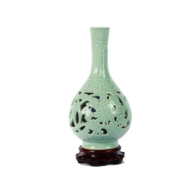 Chinese Reticulated Celadon Vase with Stand