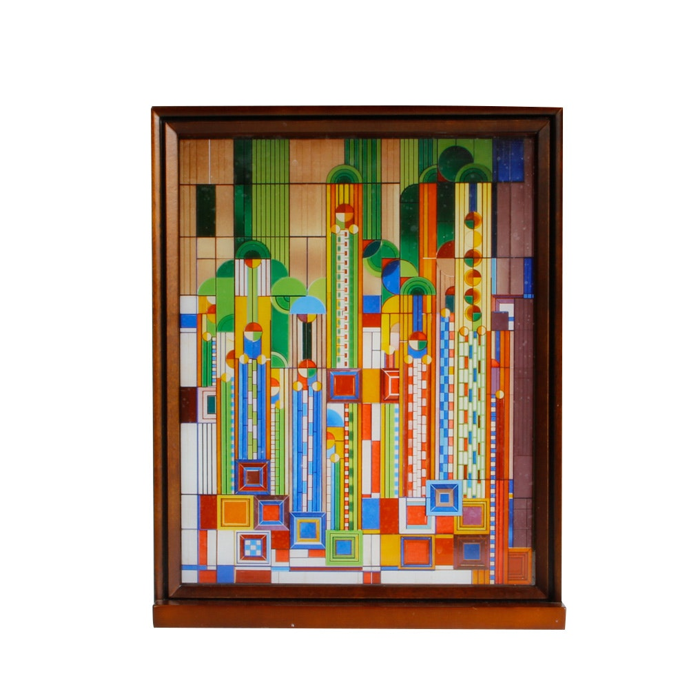 """After Frank Lloyd Wright """"Saguaro Forms and Cactus Flowers"""" Glass Screen"""