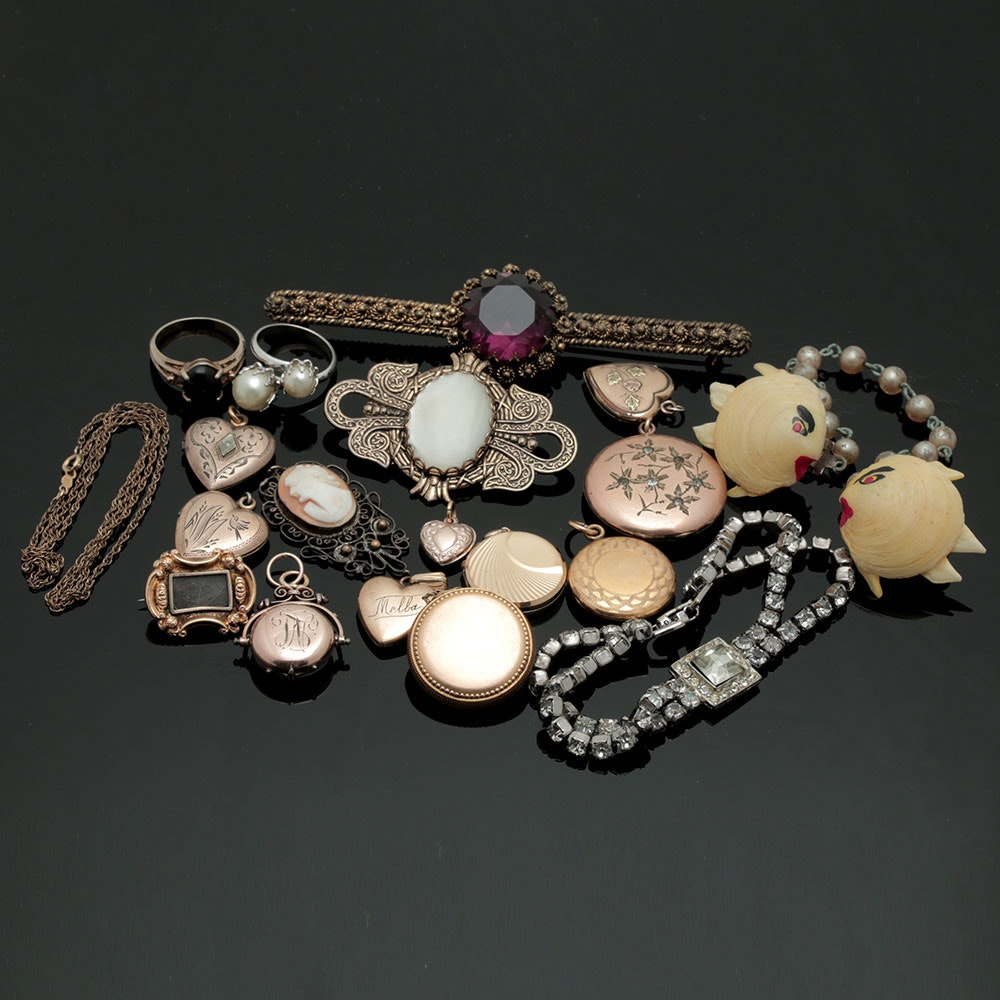 Assortment of Vintage and Victorian Style Jewelry Including a Mourning Brooch