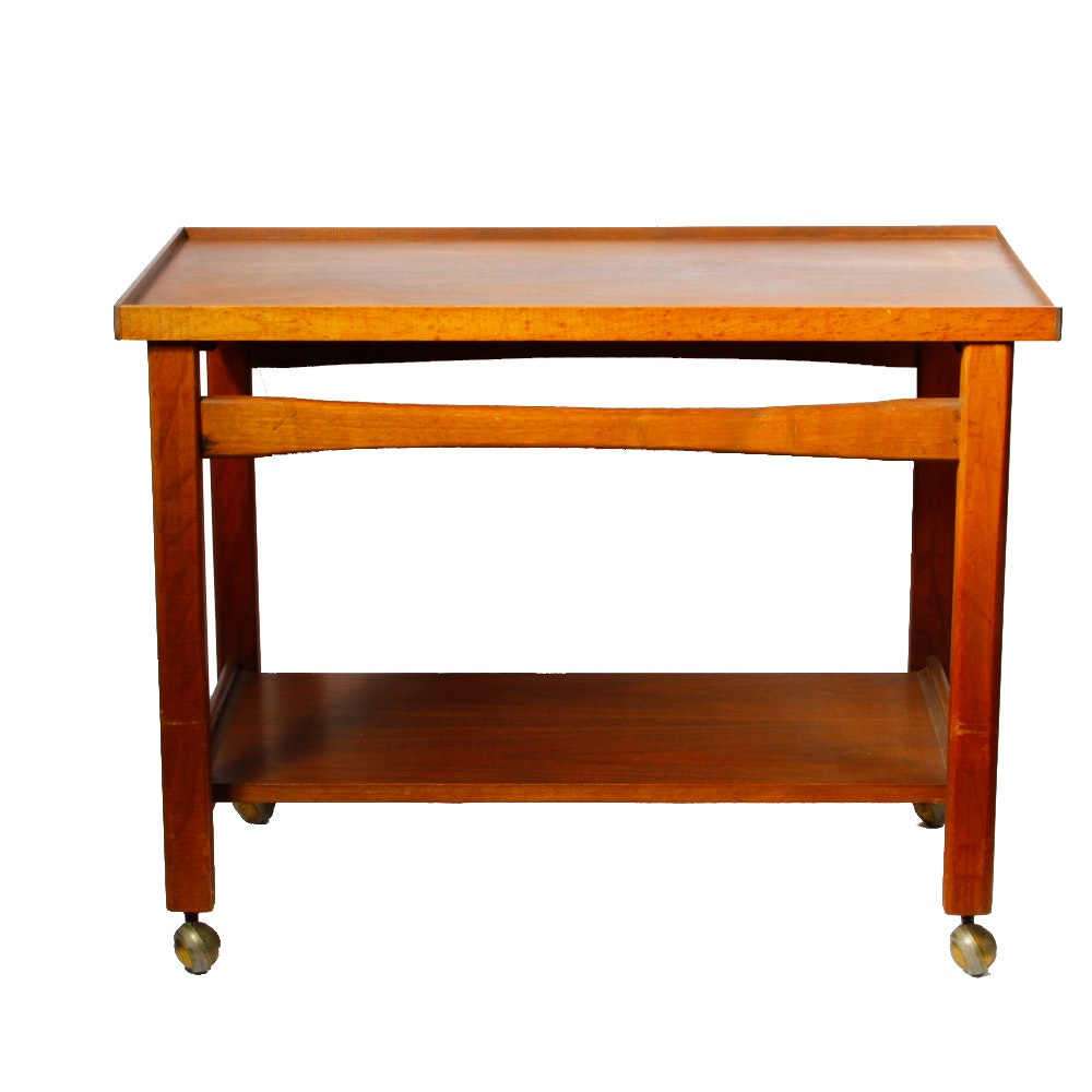 Vintage Mid Century Modern Rolling Tray Table