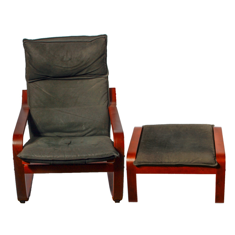 IKEA Poang Chair with Matching Ottoman