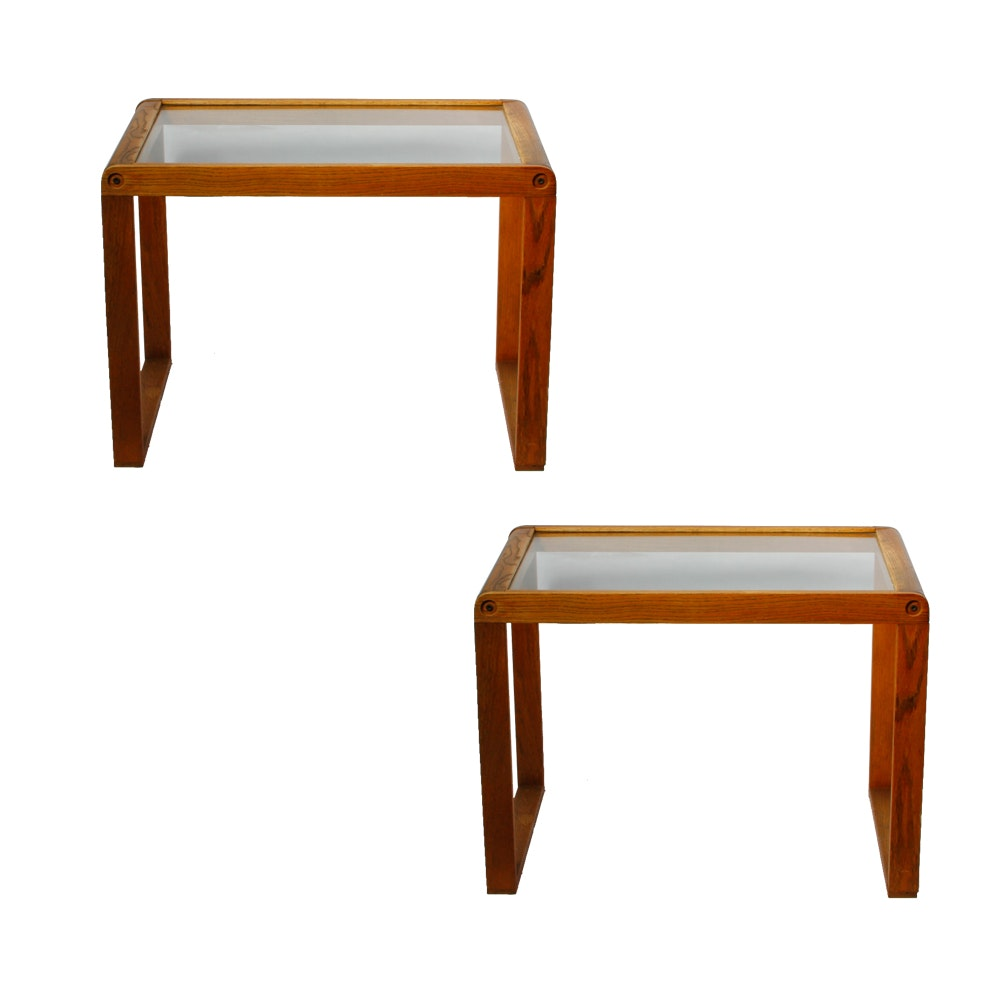Vintage Wood and Glass Side Tables