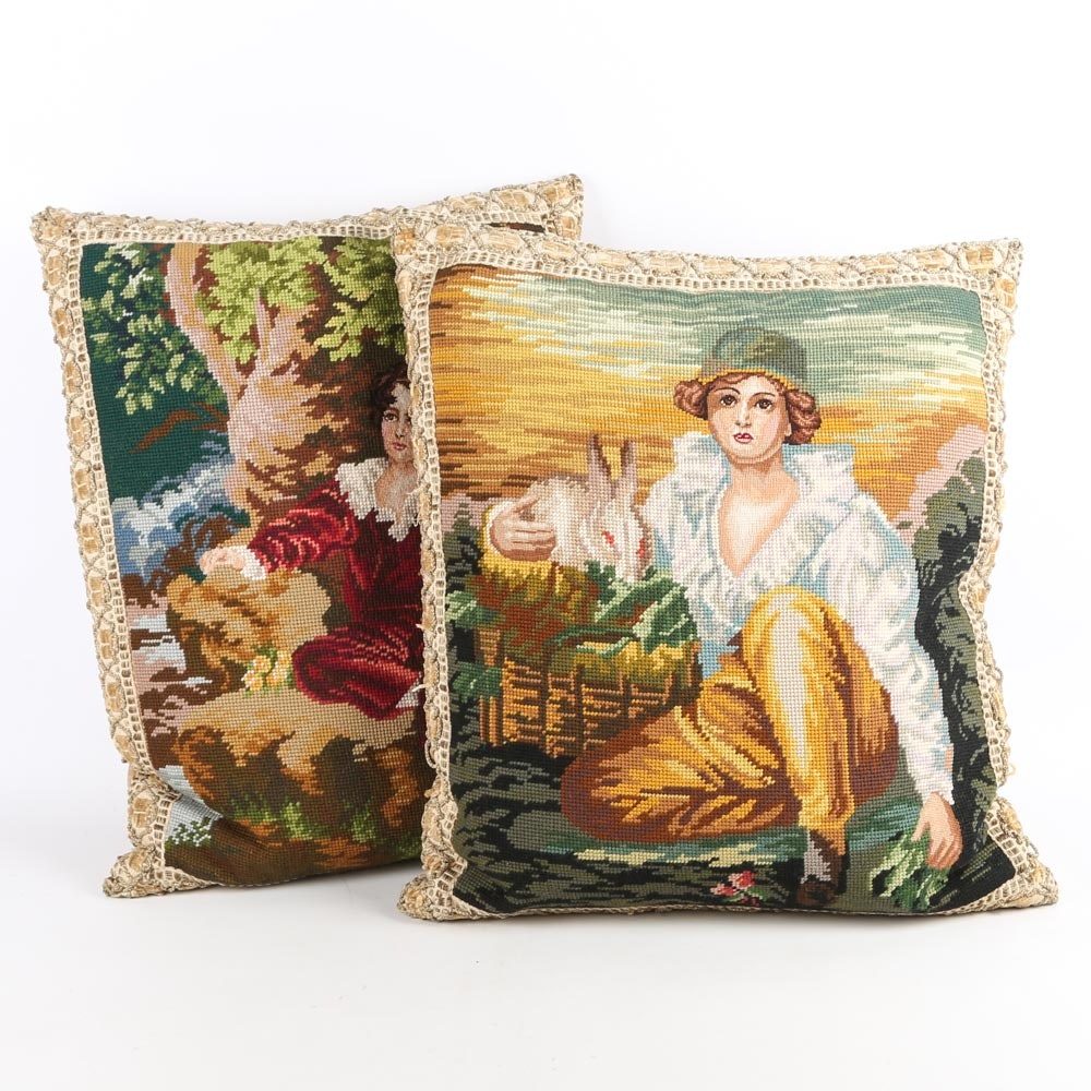 Portrait Needlepoint Pillows