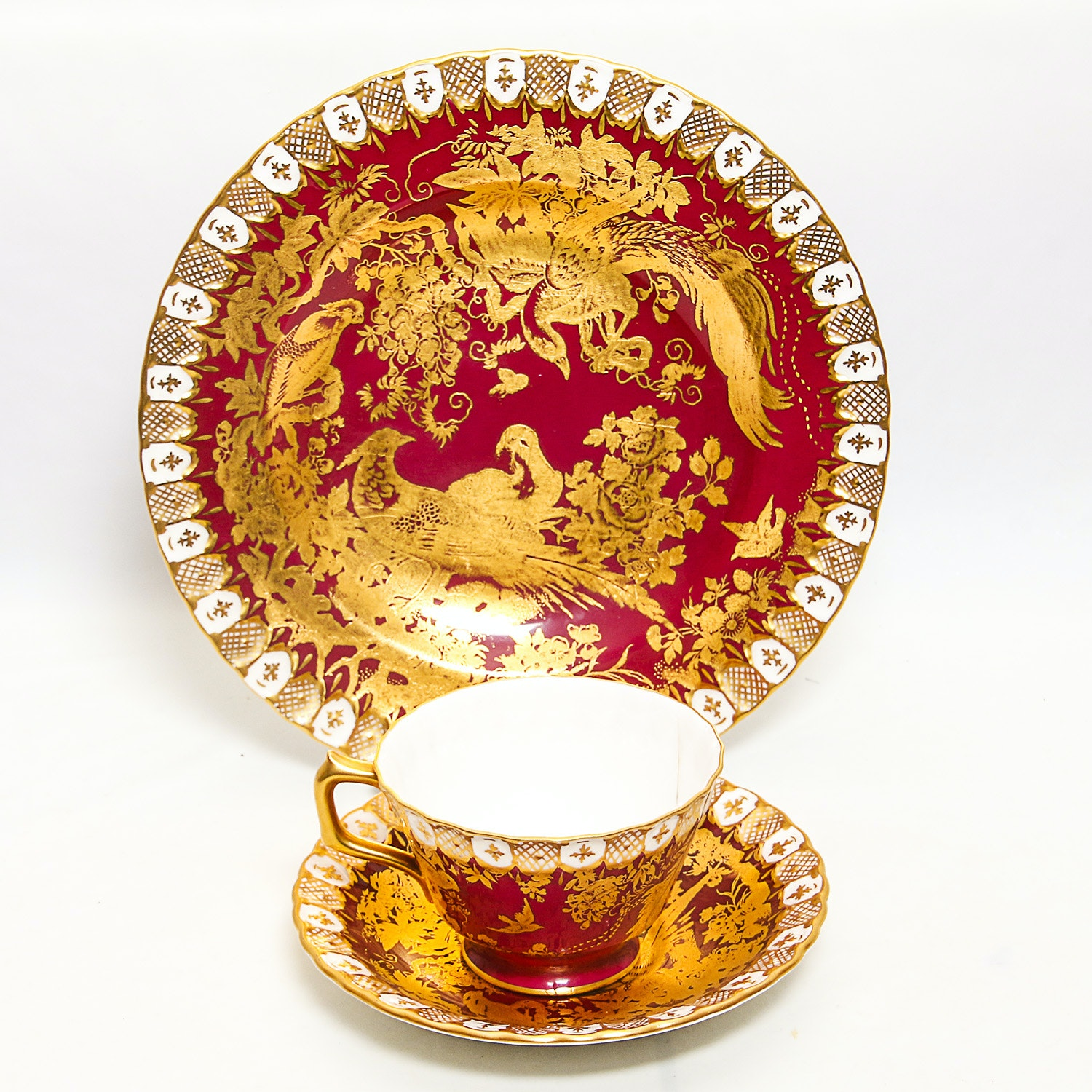 "Royal Crown Derby"" Paradise Moon"" Plate and Cup with Saucer"