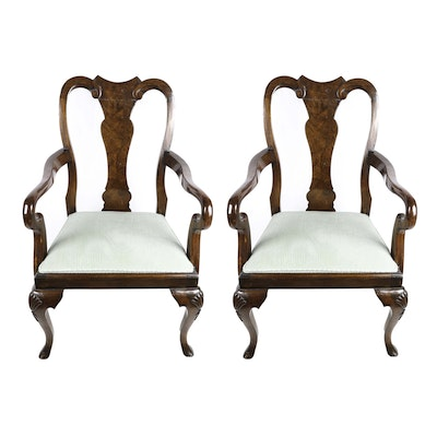Queen Anne Style Burlwood Captain's Chairs