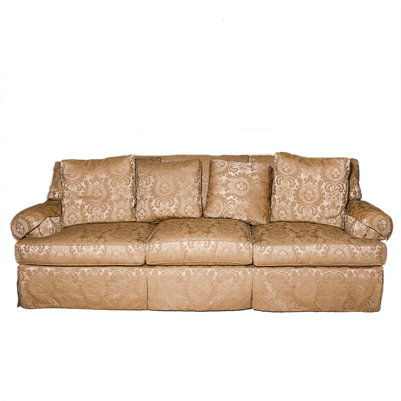 Gold Damask Upholstered Sofa