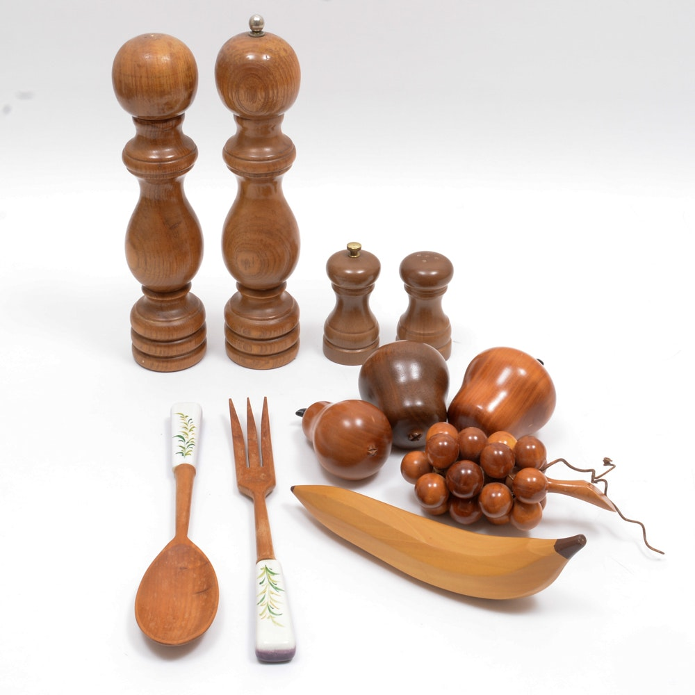 Vintage Wooden Tableware and Decor Pieces